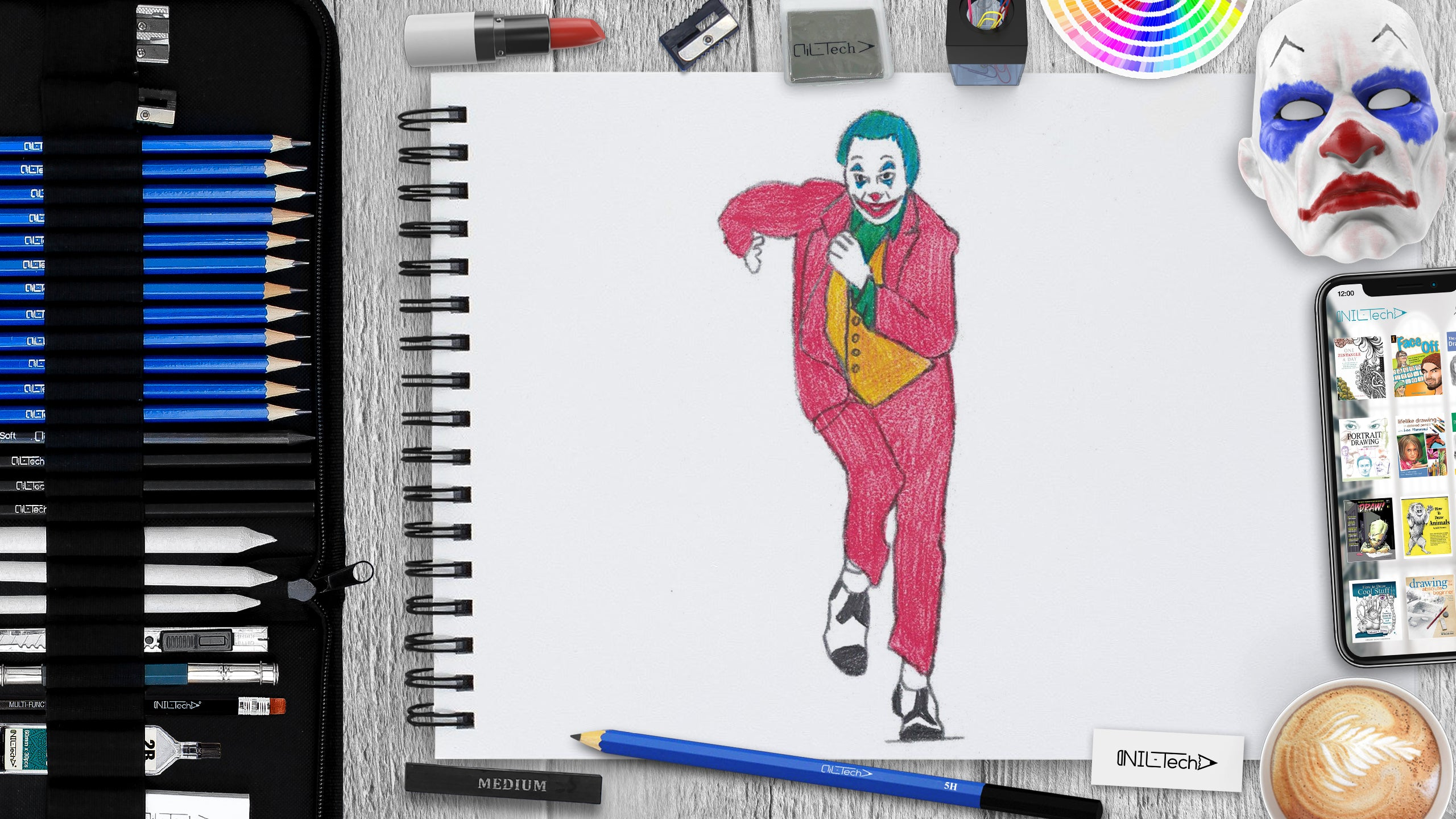 how to draw the joker step by step