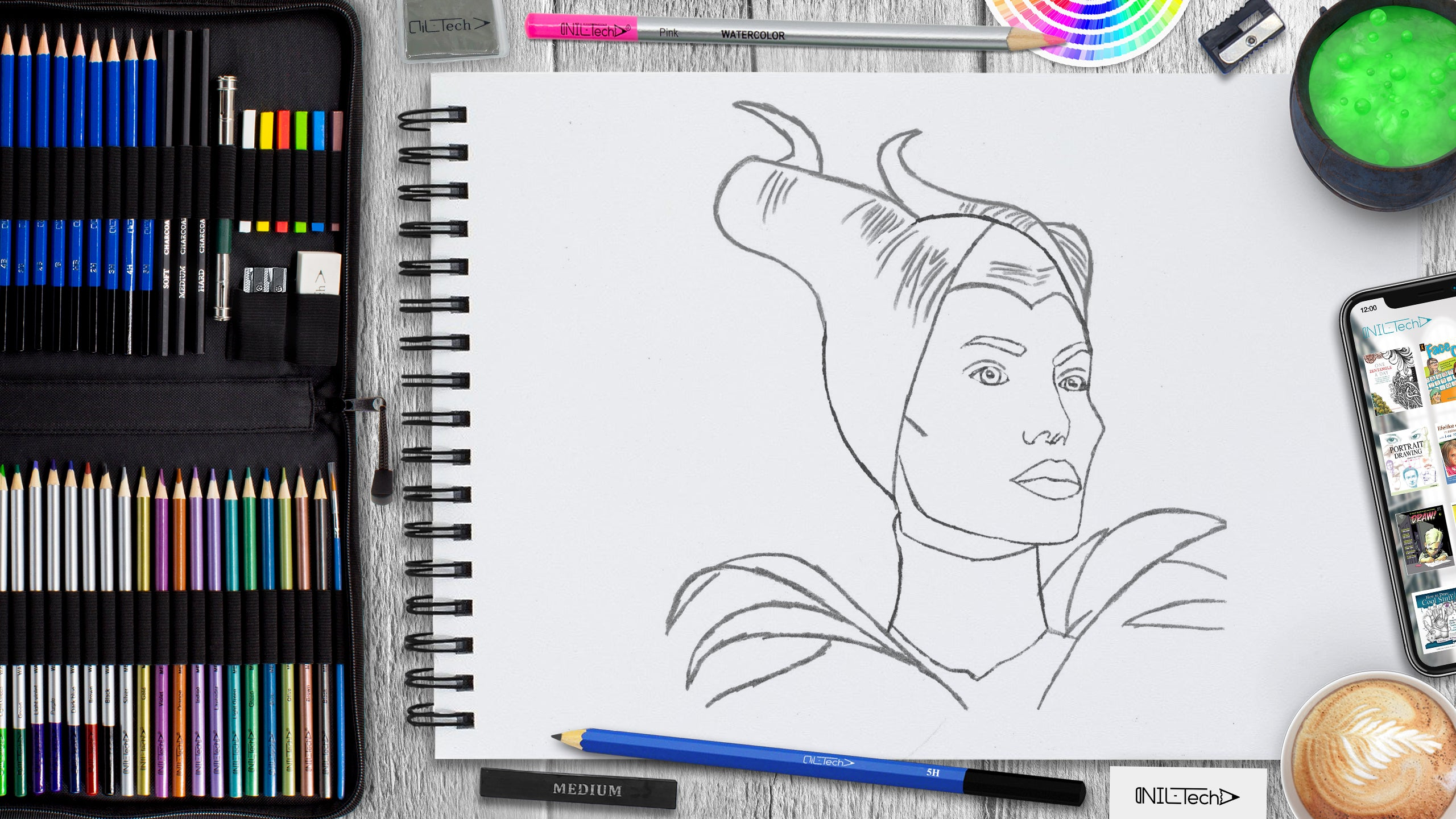 easy Maleficent step by step pencil drawing tutorial