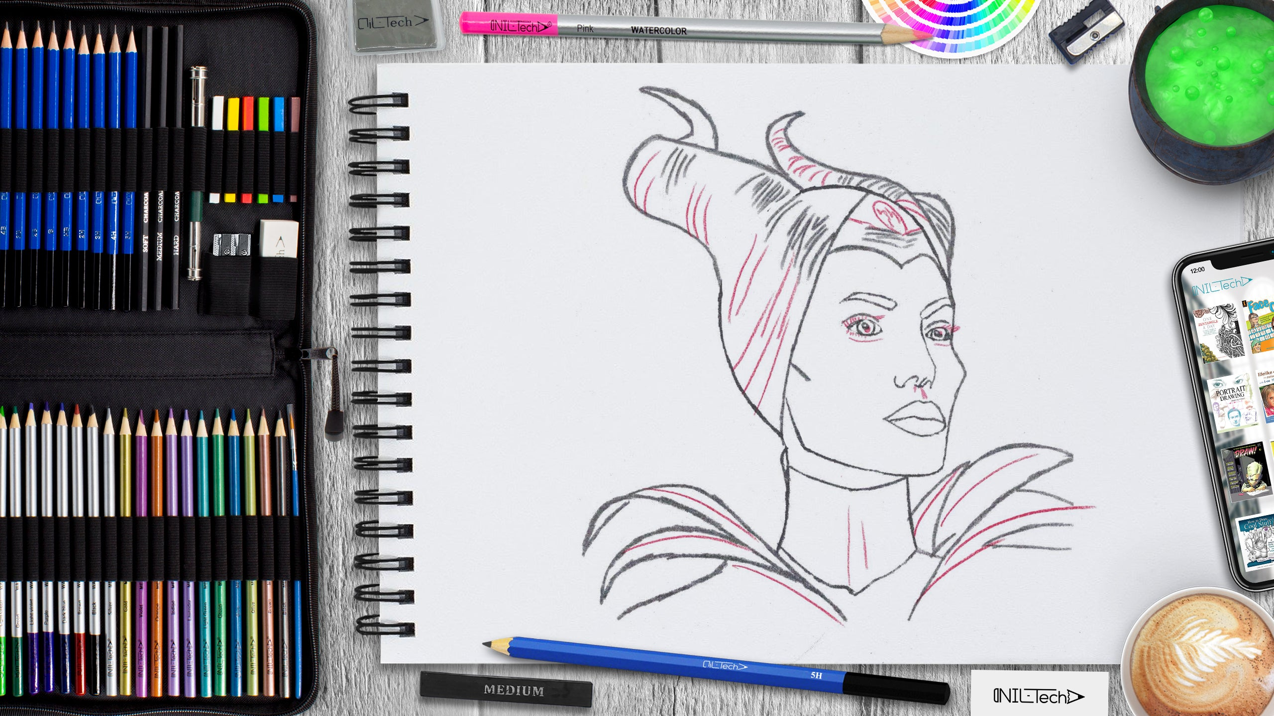 how to draw Maleficent simple step by step tutorial