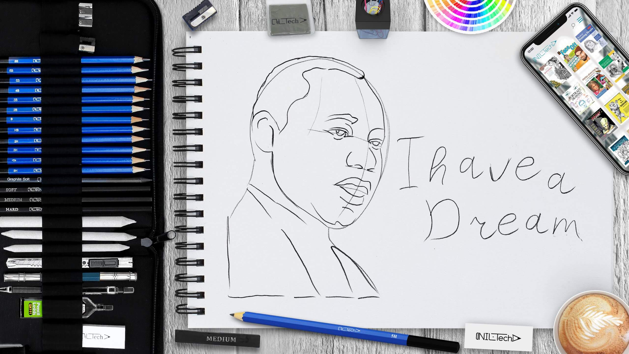 how to draw Martin Luther King Jr step by step