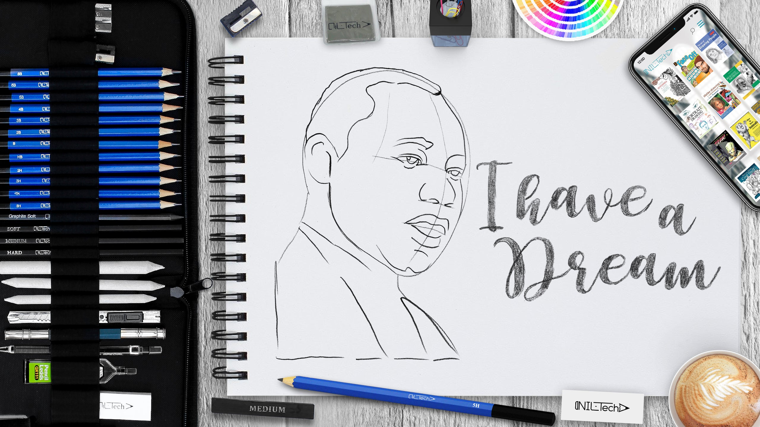 Martin Luther King Jr step by step drawing tutorial