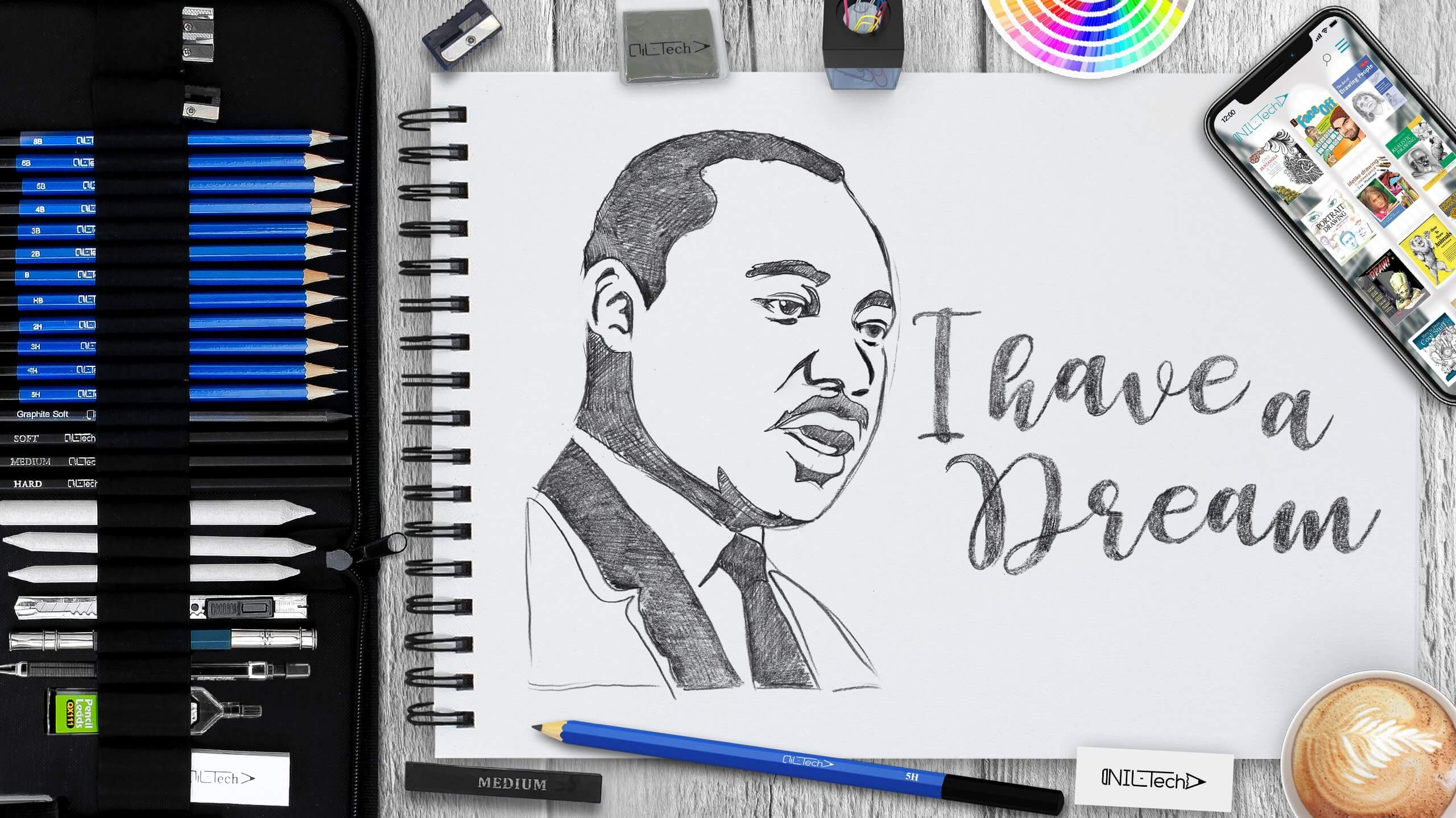 learn to draw Martin Luther King Jr easy