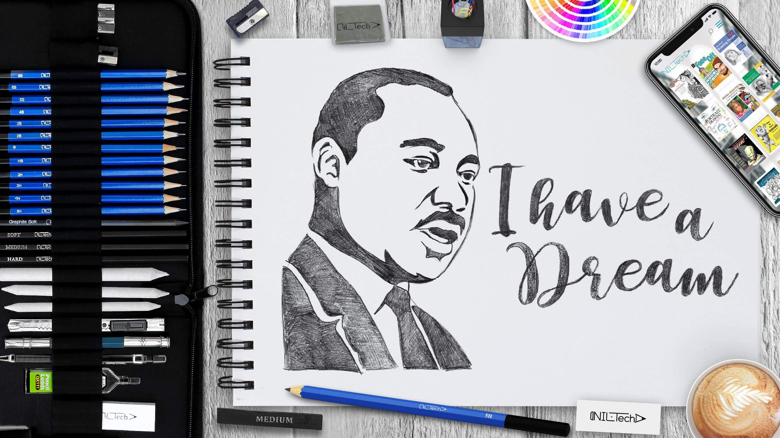 simple Martin Luther King Jr drawing tutorial