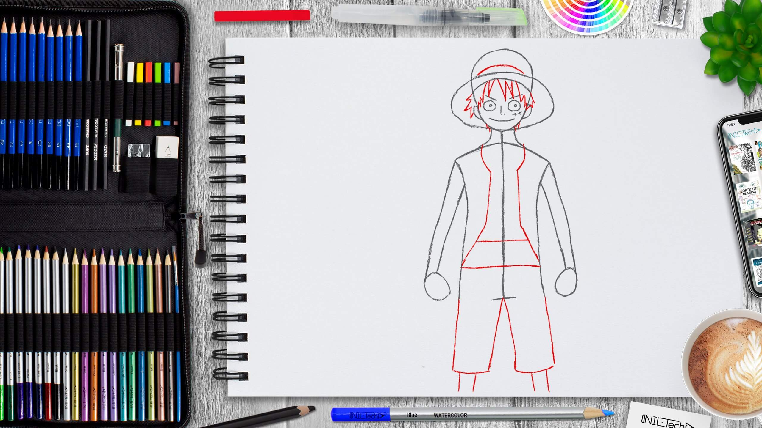 Luffy from one piece pencil drawing tutorial