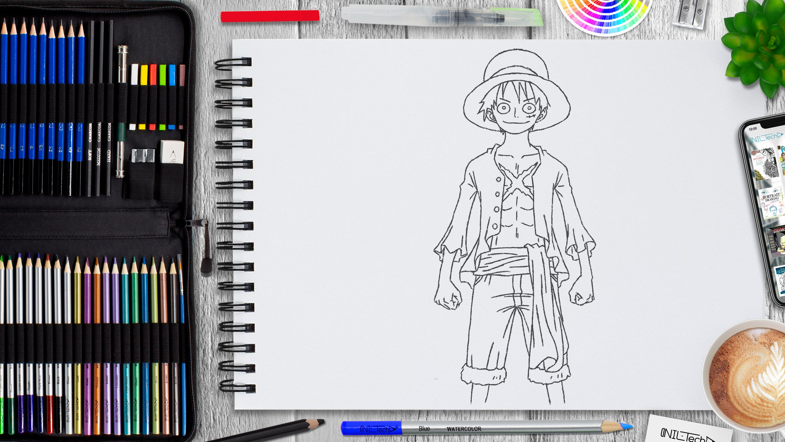 simple Luffy from one piece pencil drawing tutorial