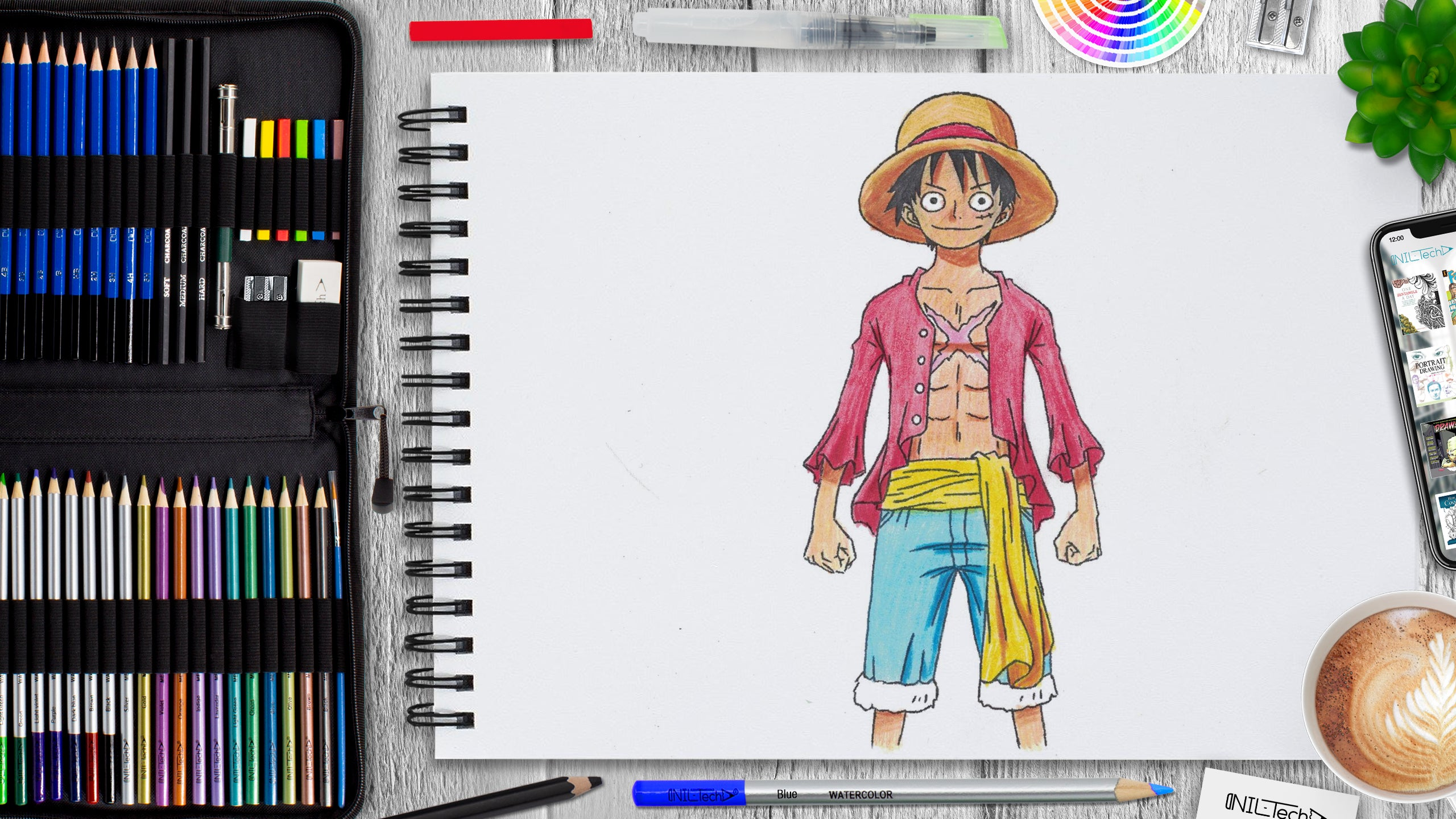 easy  one piece Luffy drawing tutorial