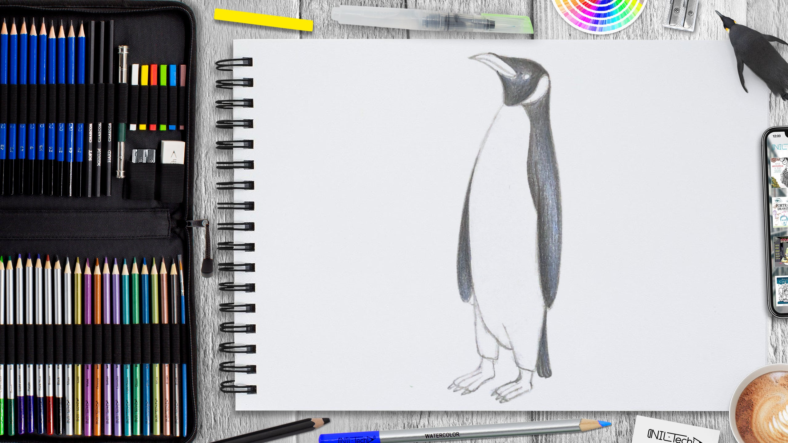 penguin cartoon drawing