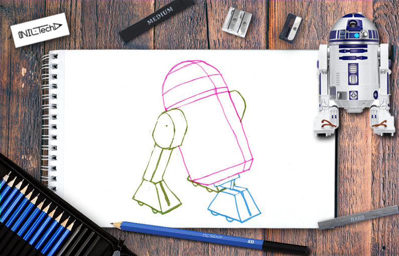 How to draw R2D2 from Star Wars character step by step