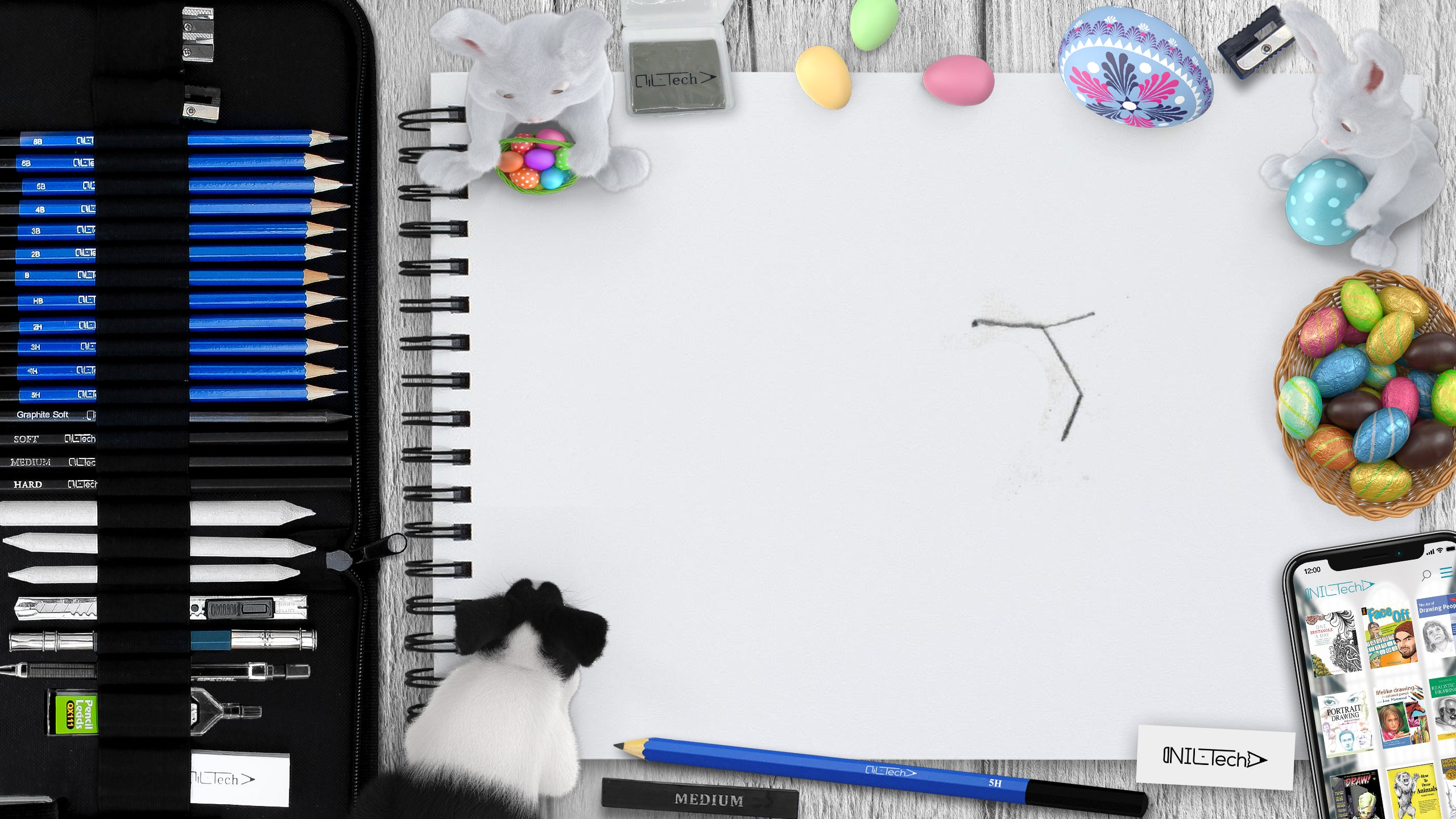 Easter bunny drawing tutorial
