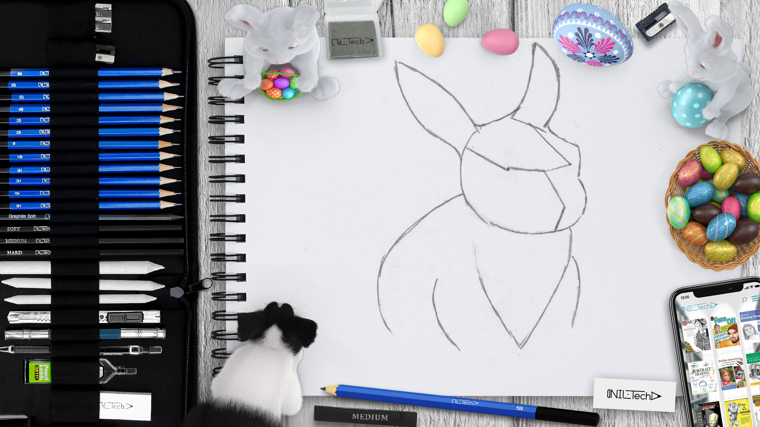 Drawing Easter bunny step by step