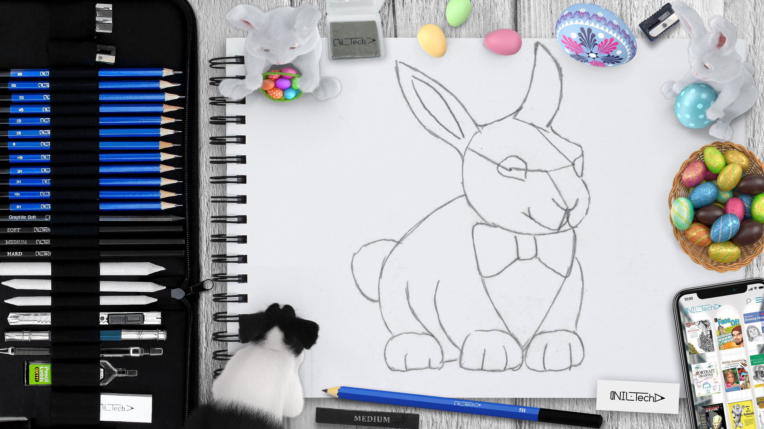 how to draw Easter bunny step by step