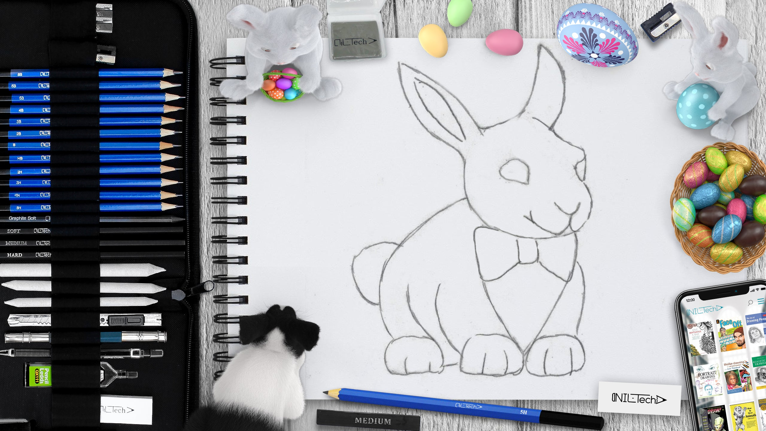 learn hoe to draw Easter bunny step by step