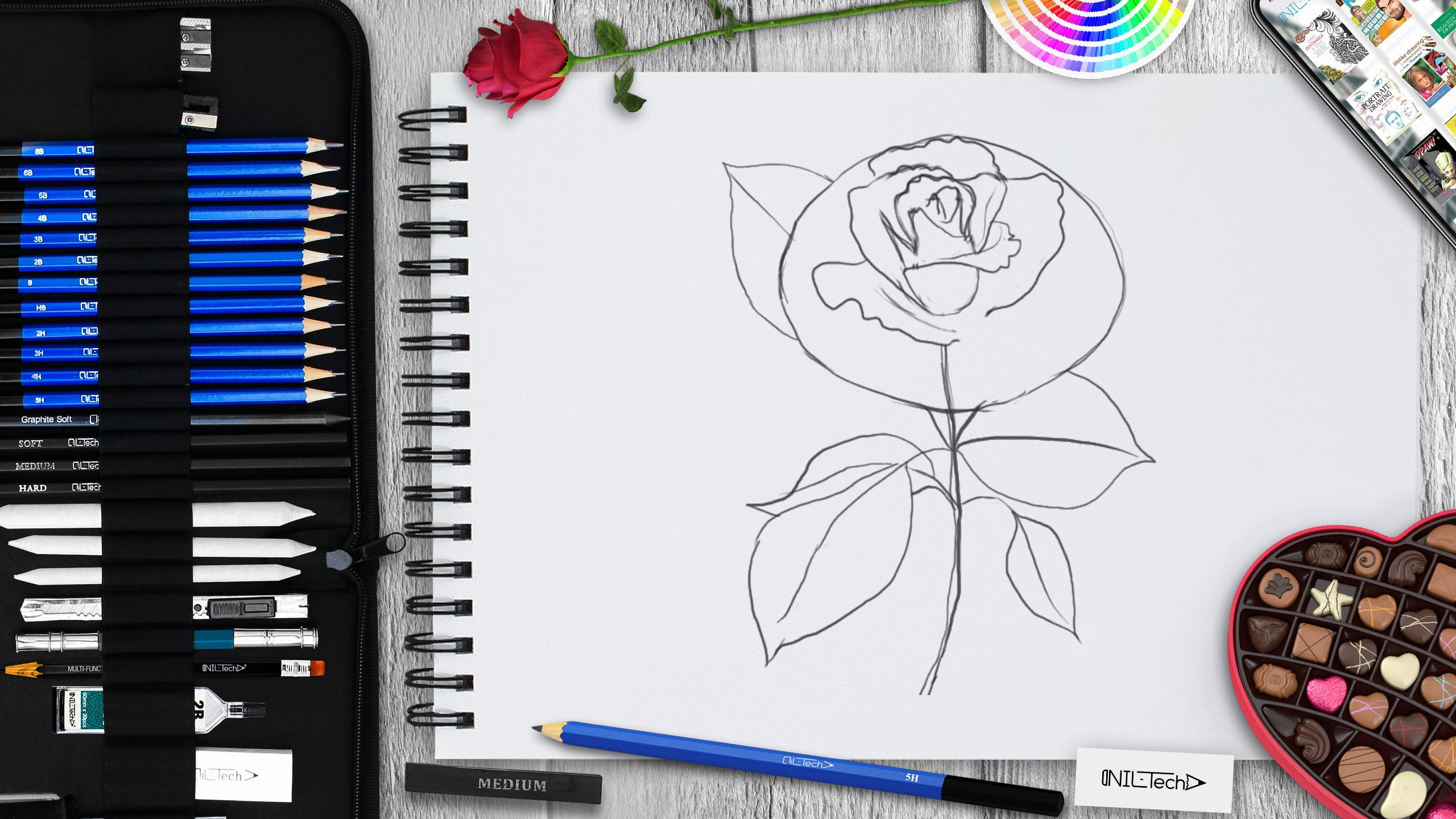 rose flower drawing tutorial