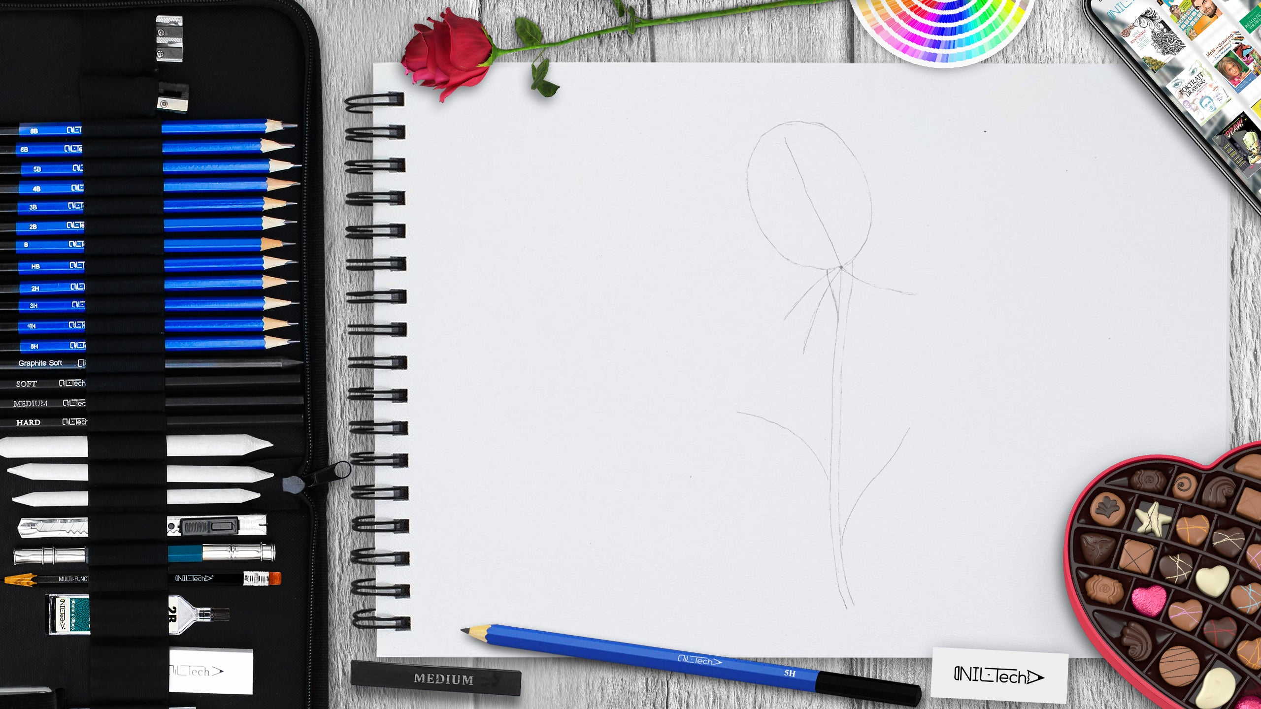 simple rose step by step drawing tutorial