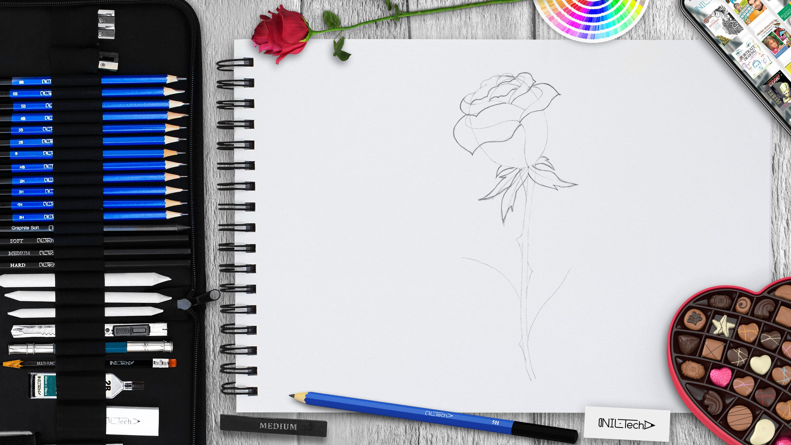 rose step by step drawing tutorial