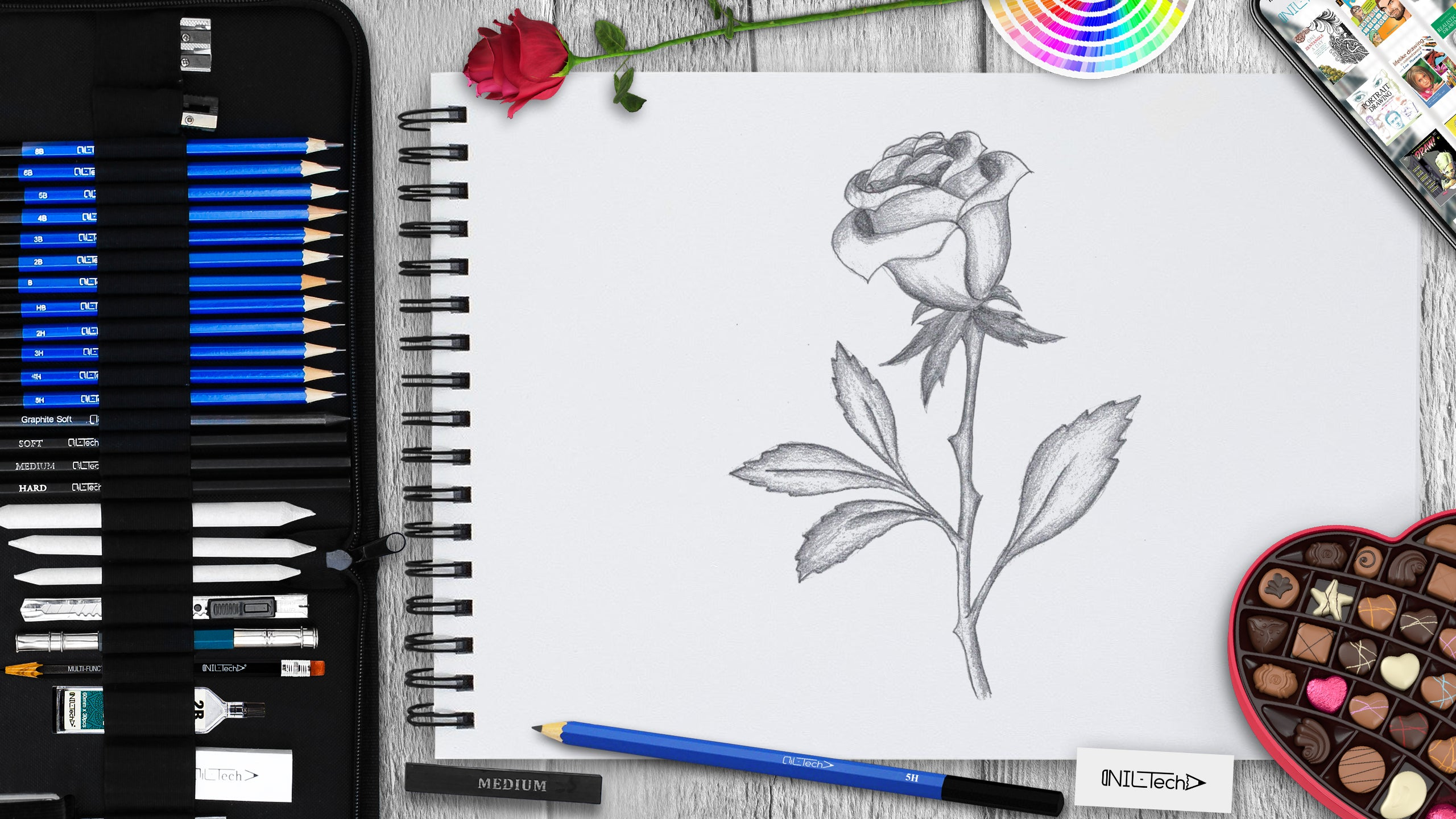 rose drawing tutorial for beginners