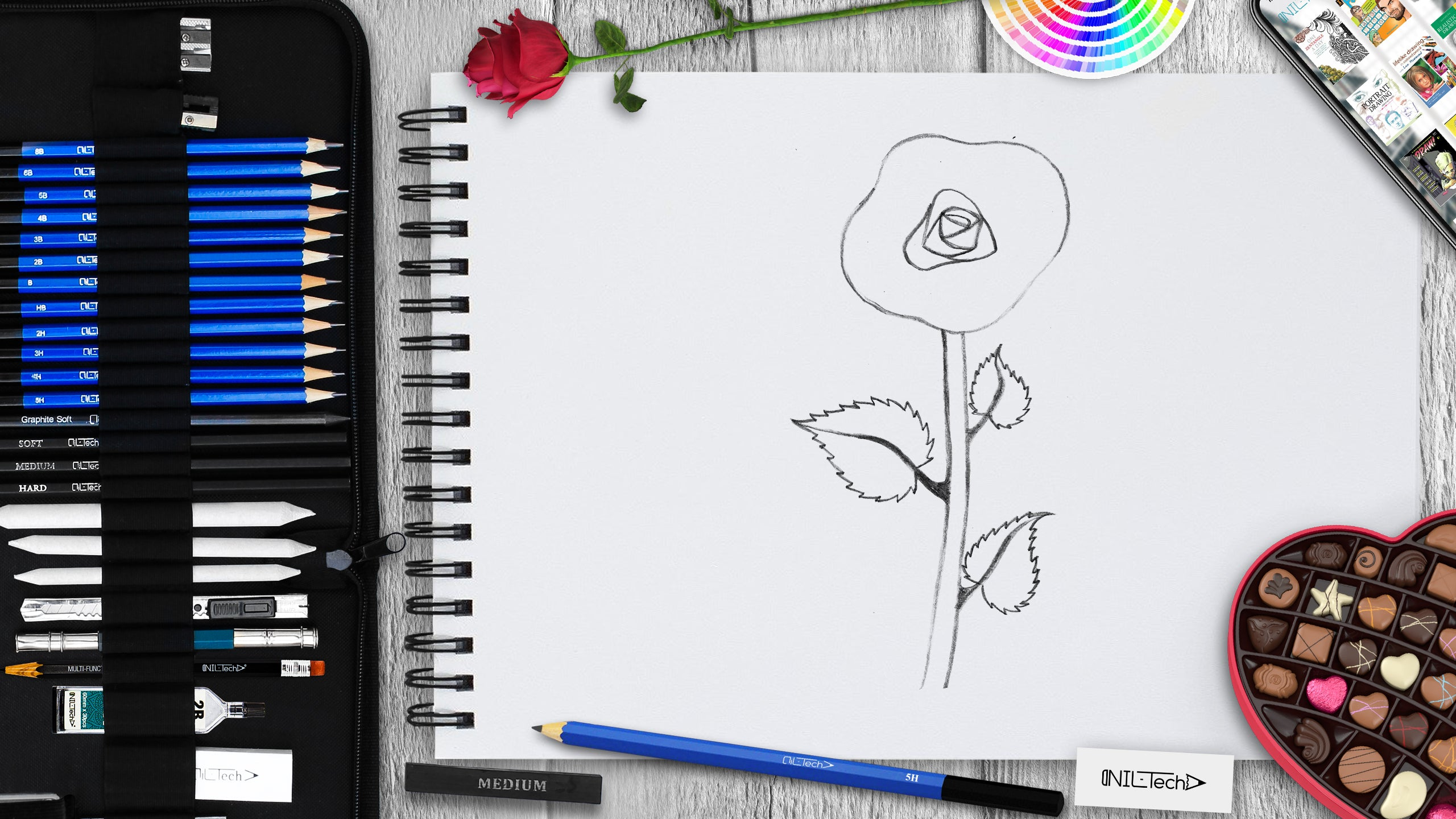 how to draw a rose flower step by step