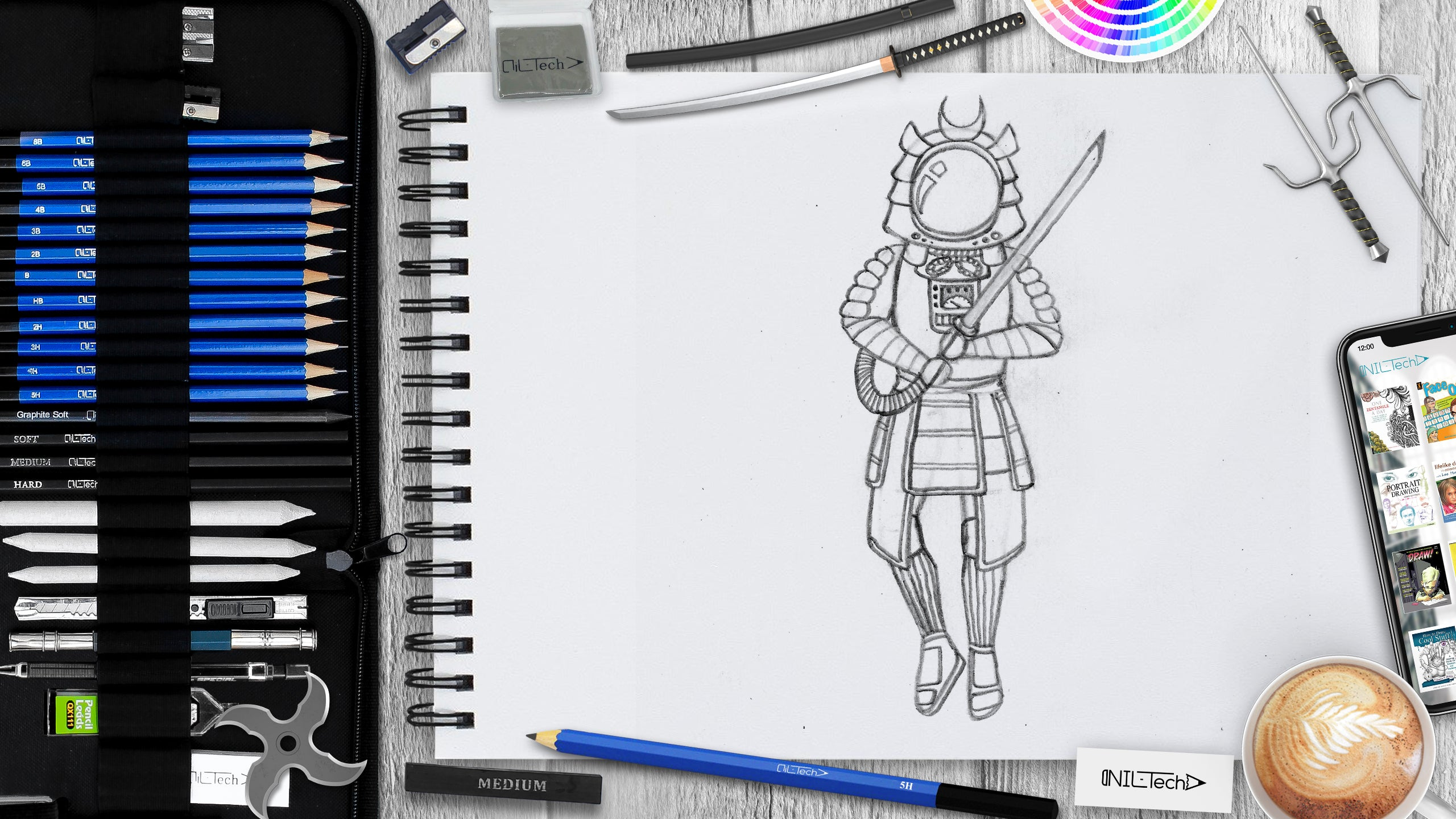 easy samurai drawing step by step tutorial