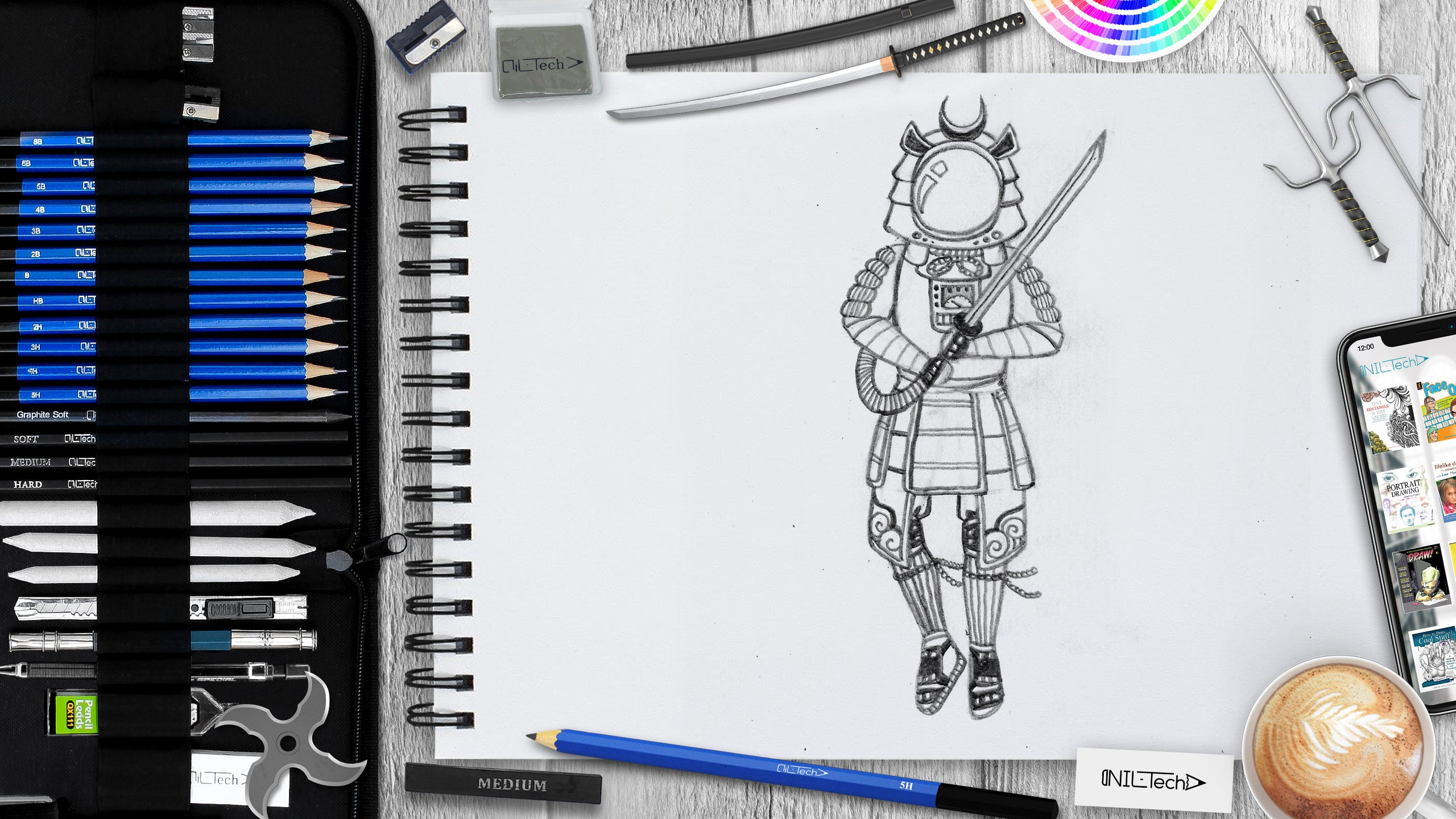 learn to draw space samurai step by step