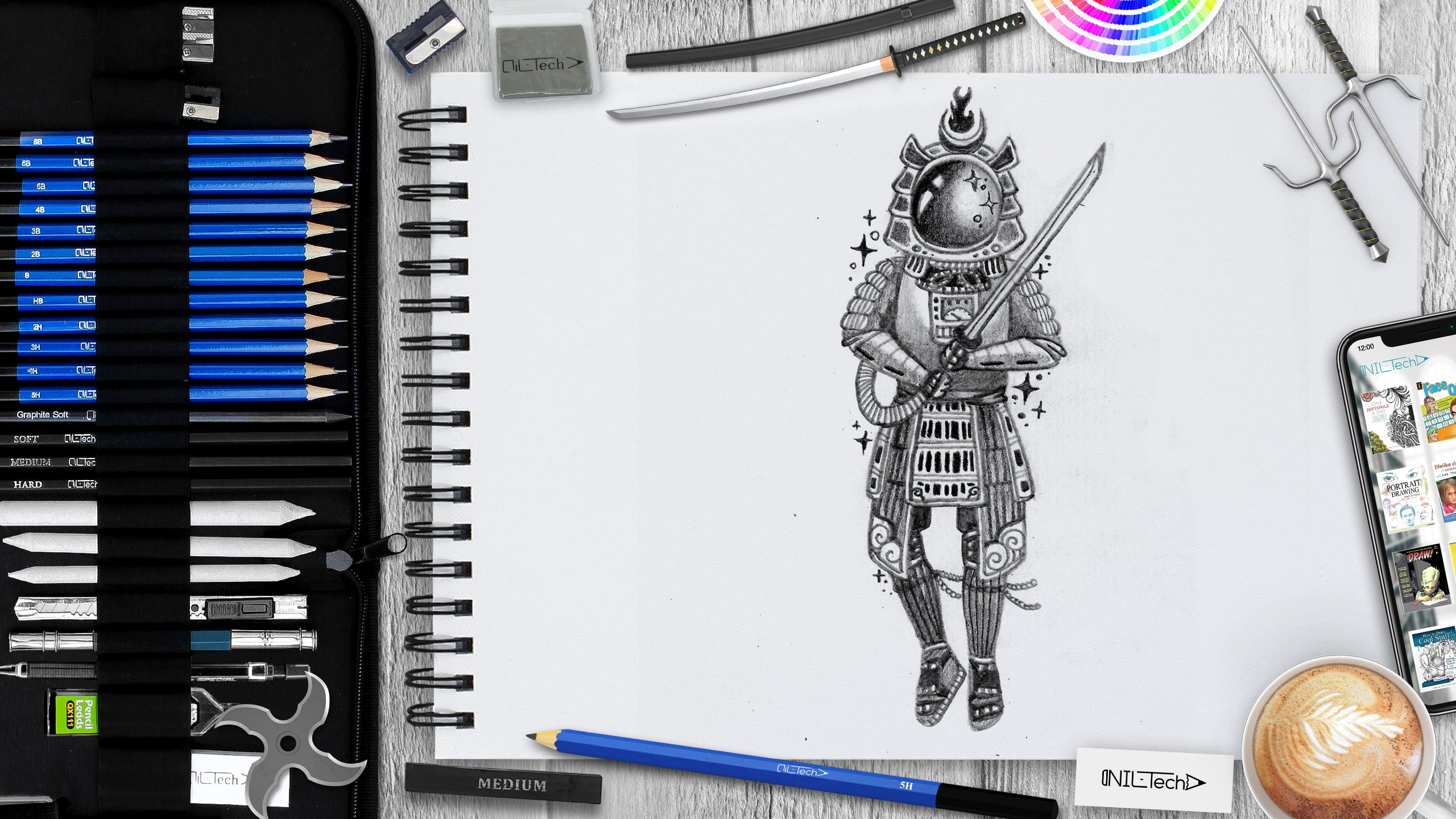 how to draw space samurai step by step