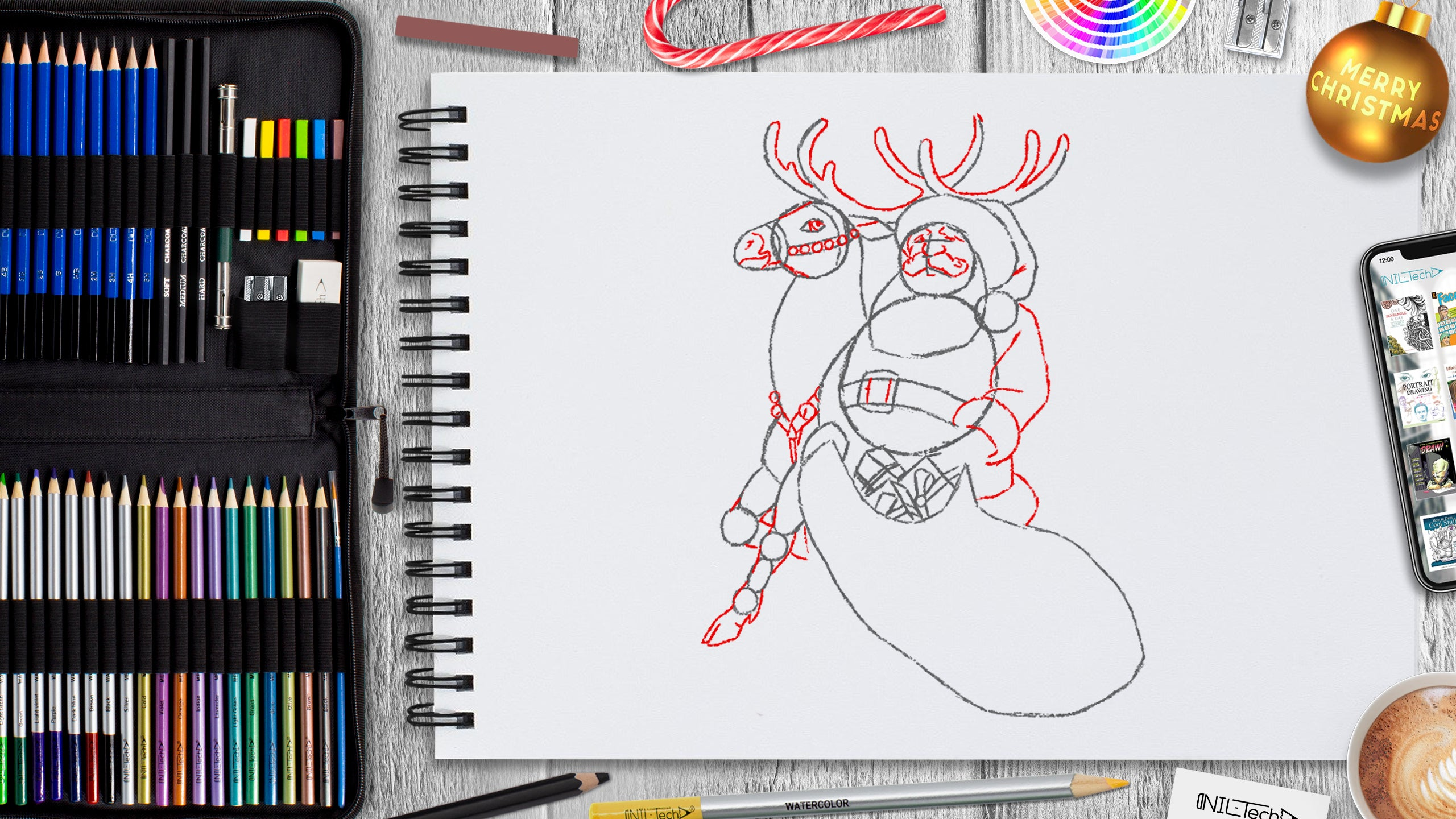 how to draw santa step by step tutorial