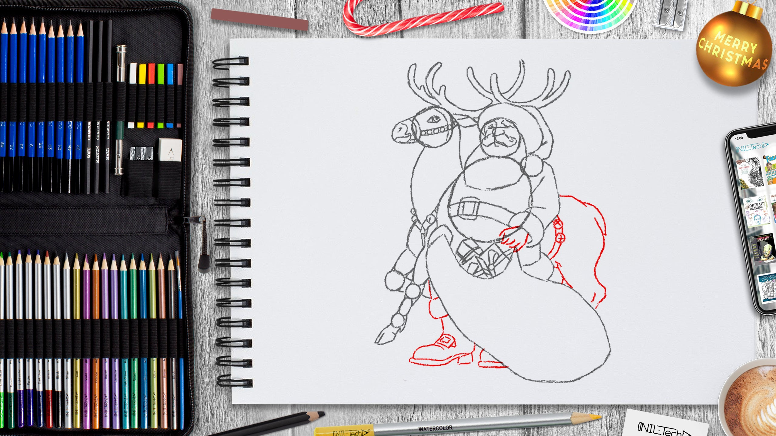 santa drawing tutorial for christmas