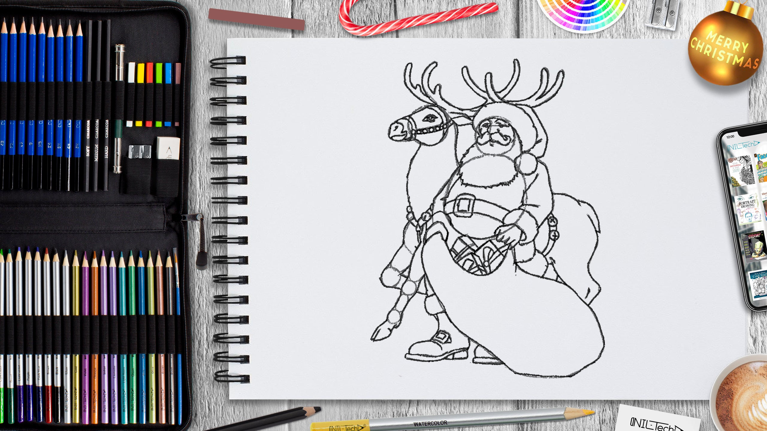 step by step Santa pencil drawing tutorial