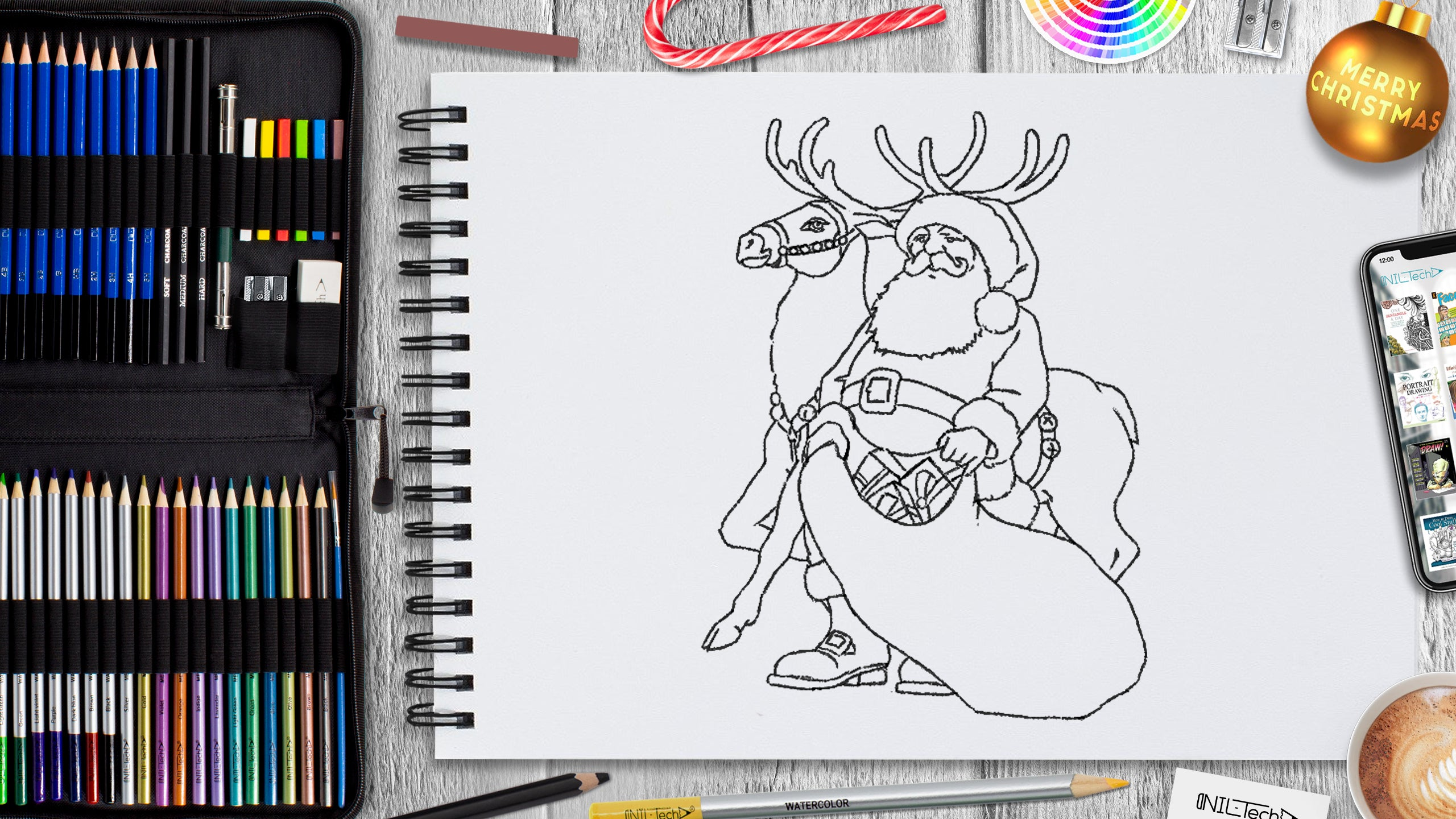 learn to draw santa step by step