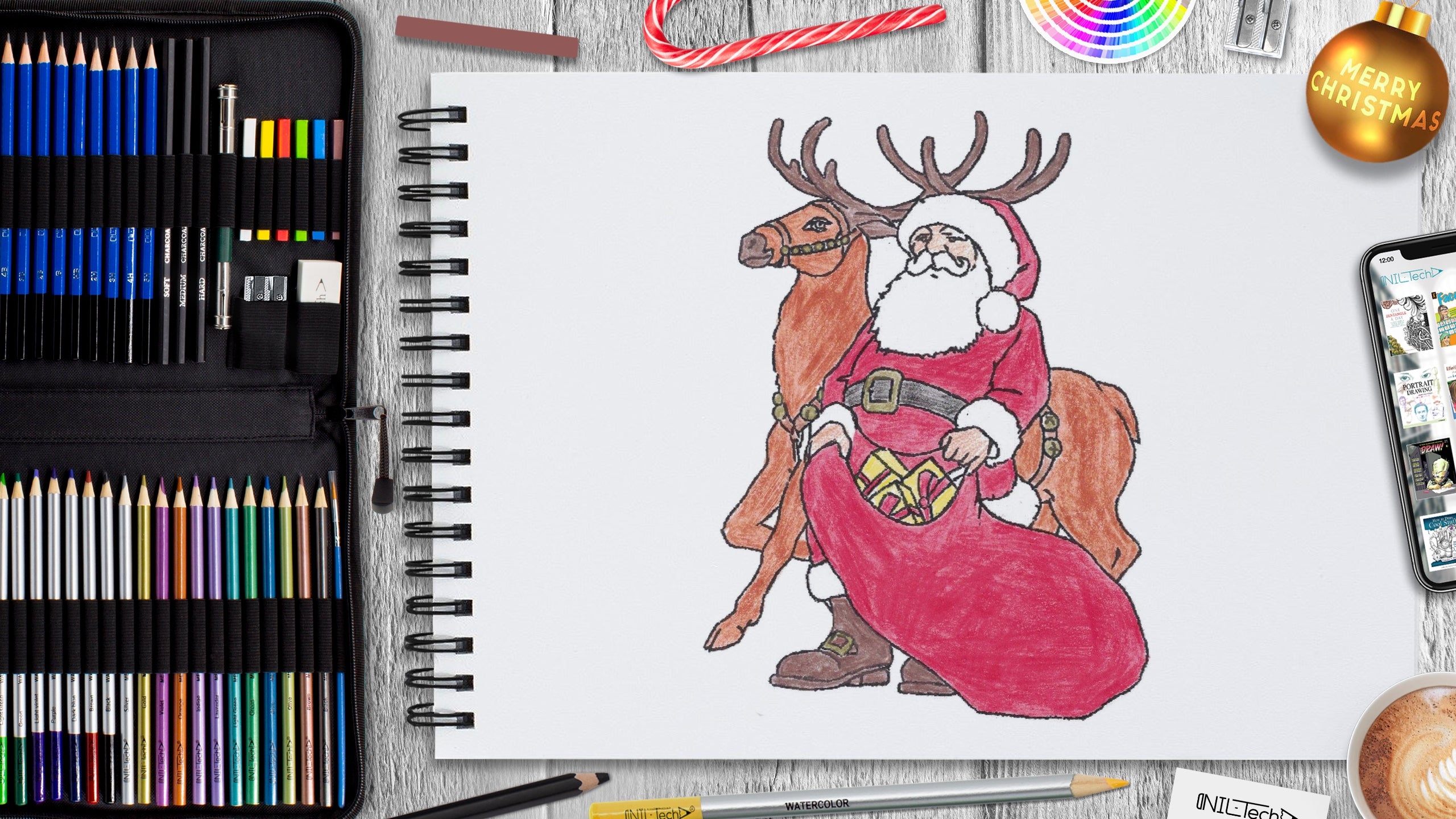 simple christmas drawing tutorial