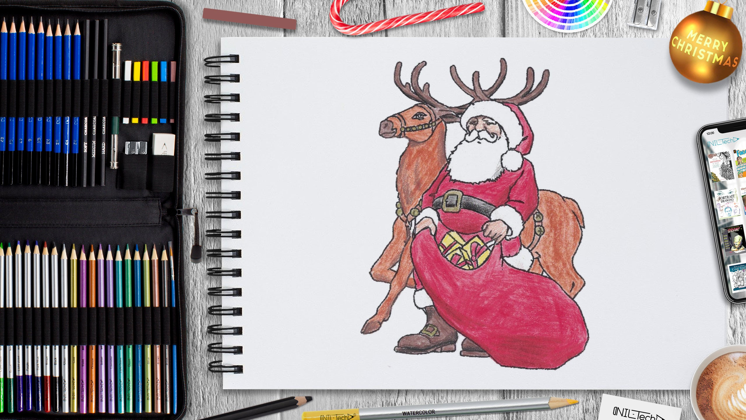 learn how to draw santa step by step