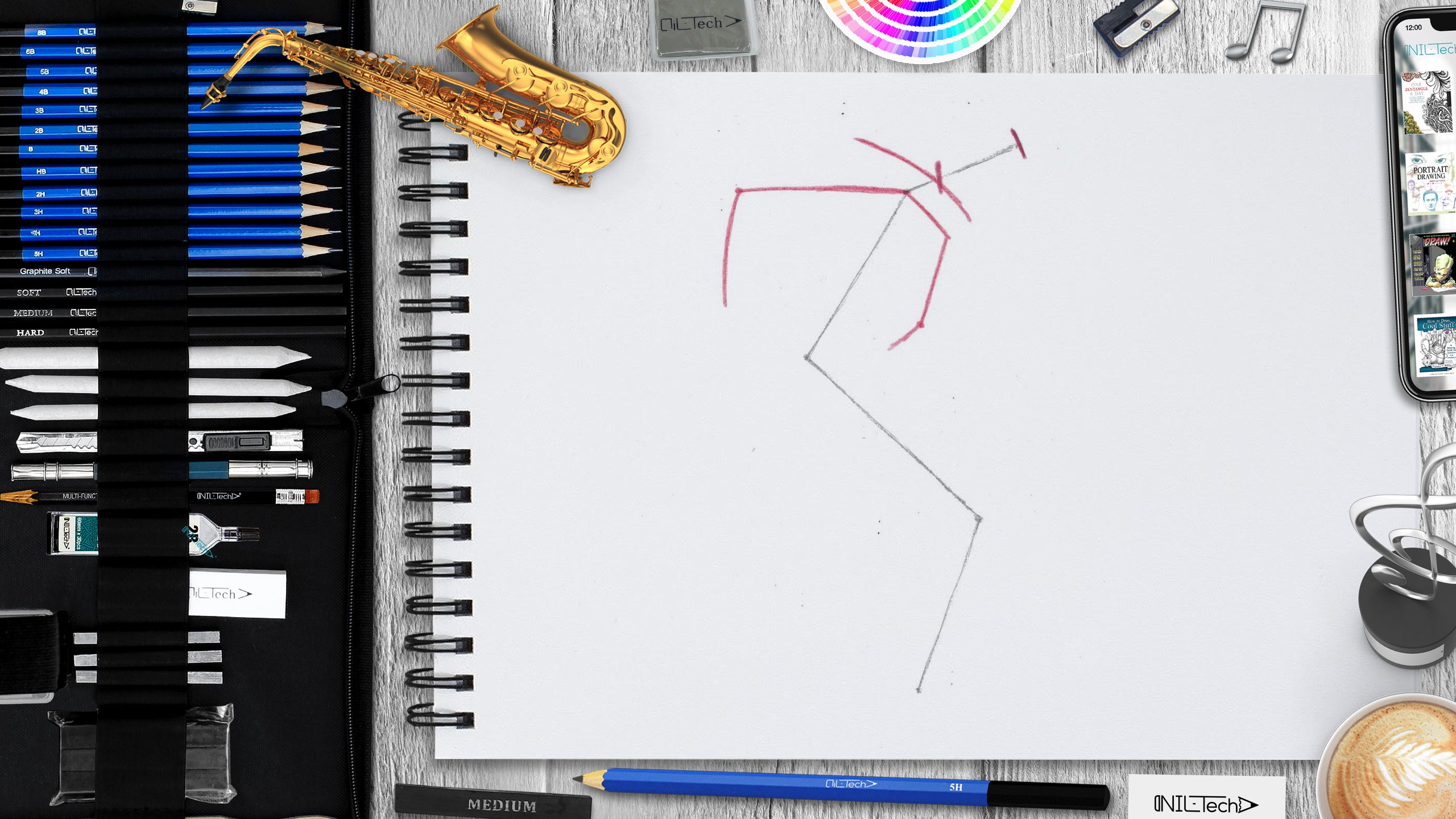 easy step by step saxophone drawing tutorial