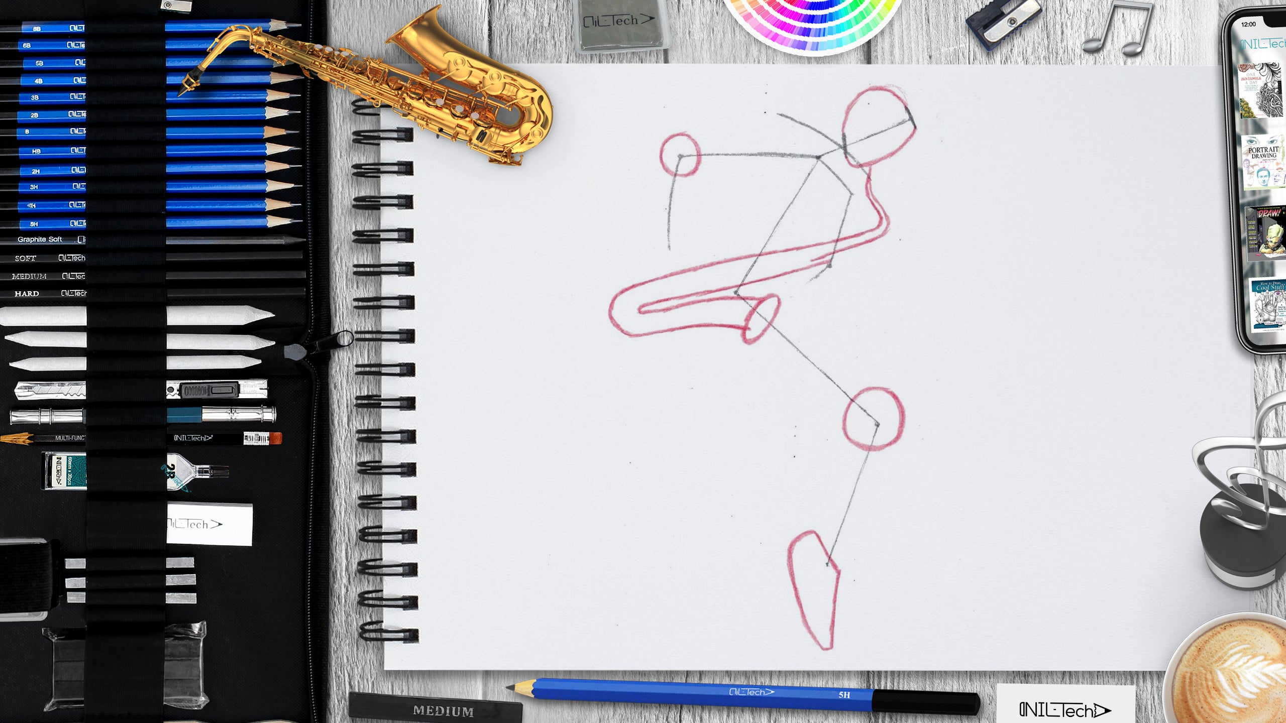 simple saxophonist pencil drawing tutorial