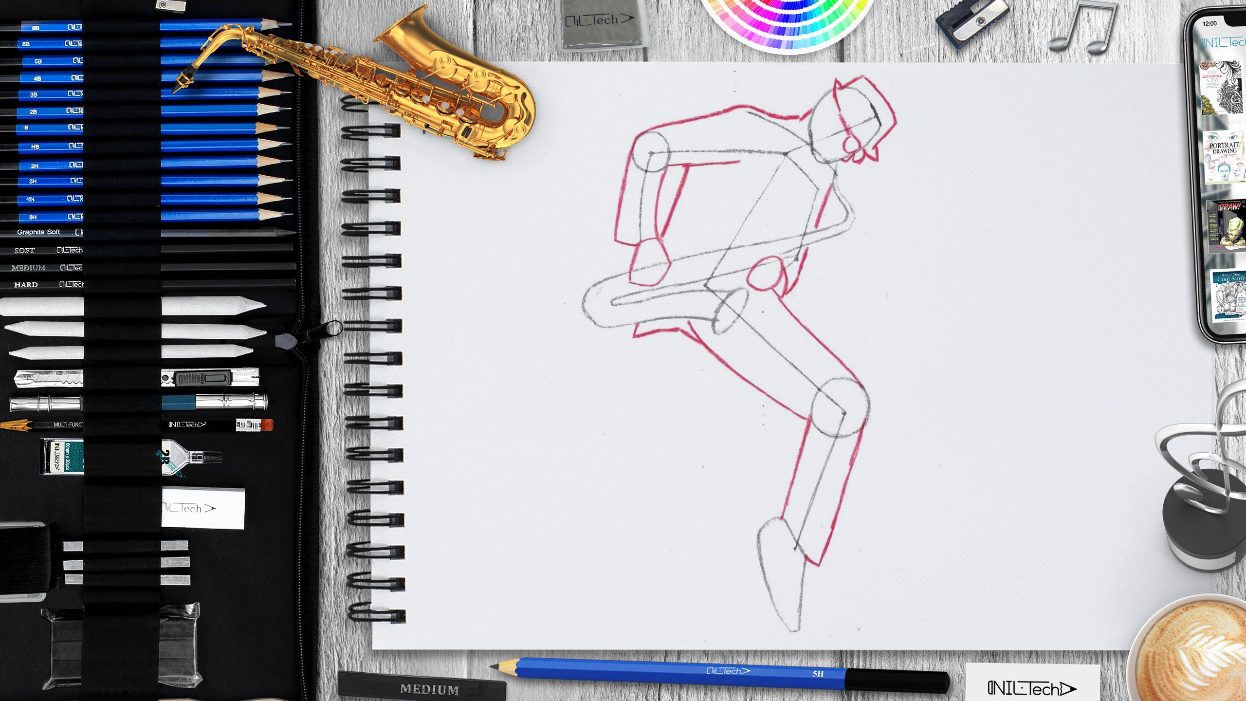 drawing saxophone easy step by step