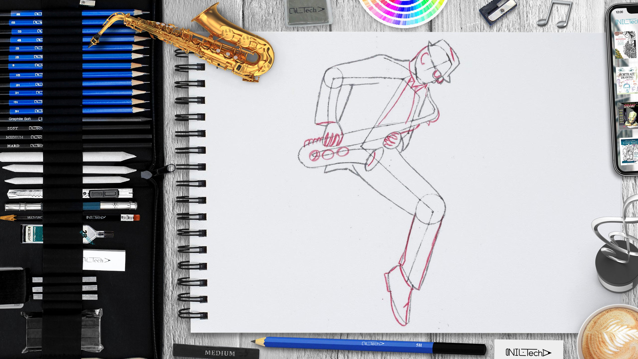 how to draw saxophonist step by step