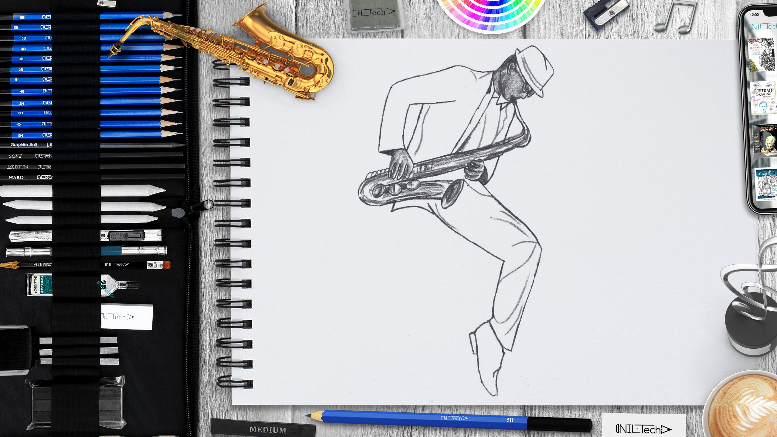 easy saxophone day step by step pencil drawing tutorial