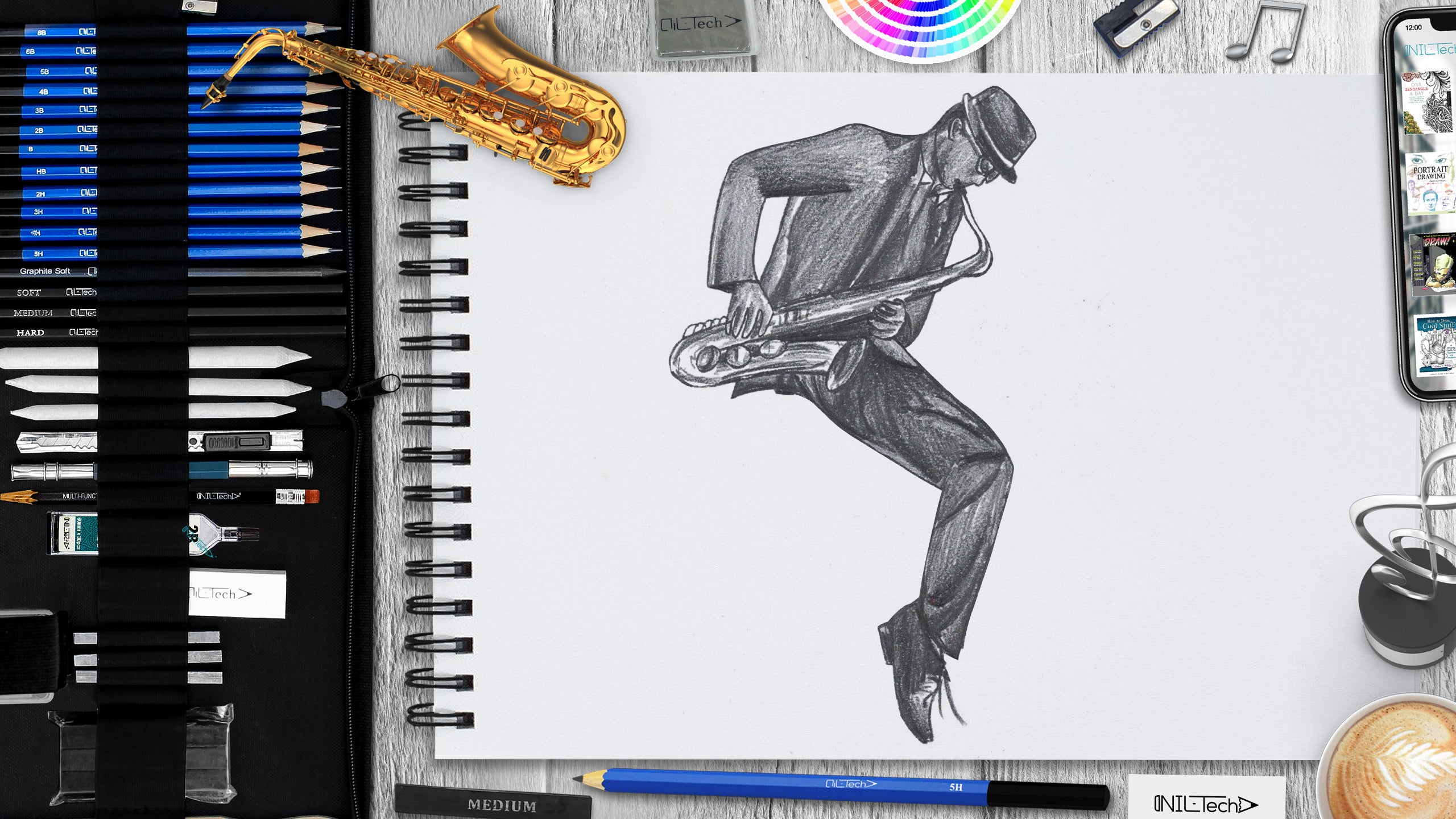 learn to draw a saxophone day drawing step by step