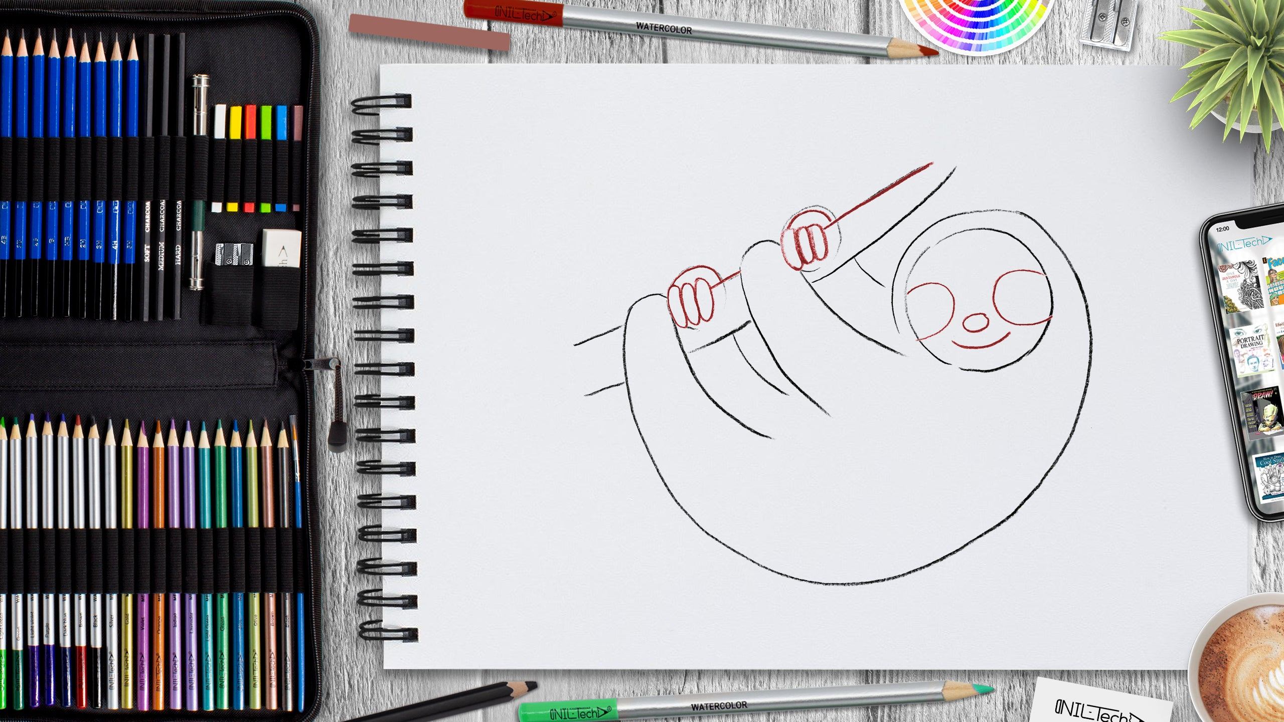 learn how to draw sloth step by step