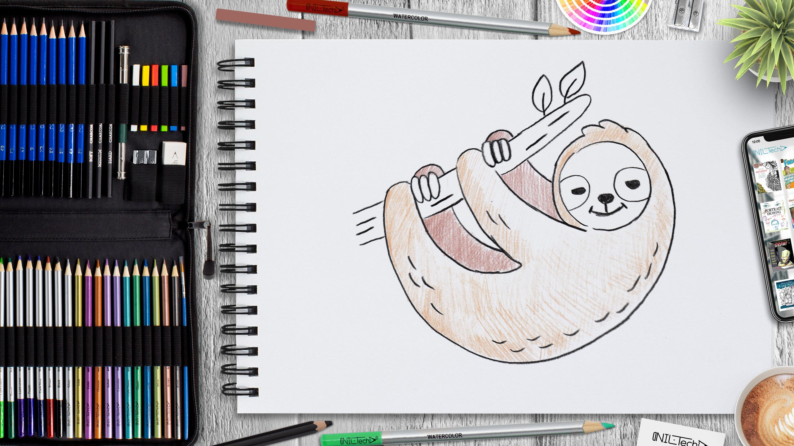 learn to draw sloth step by step