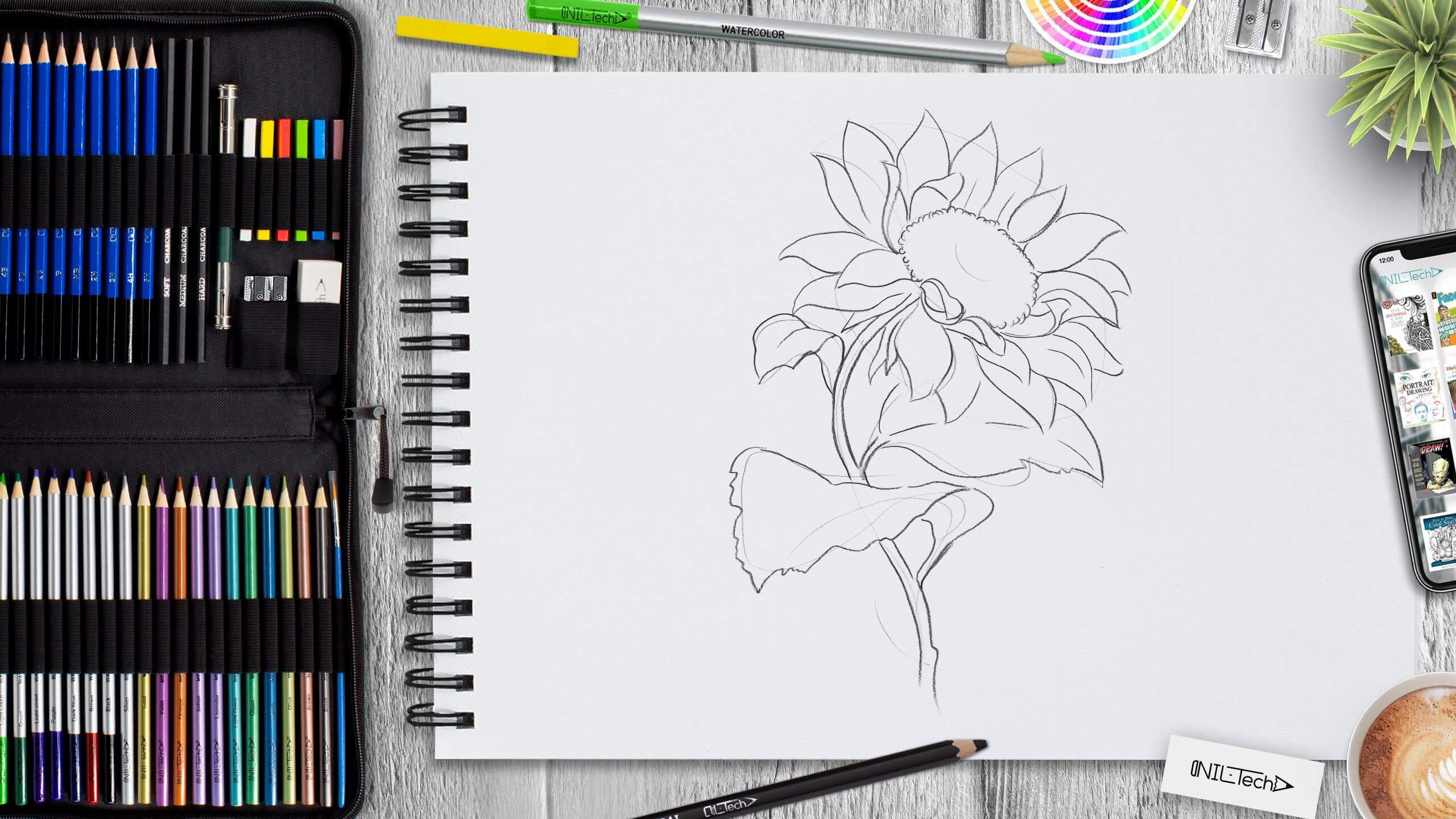 easy sunflower step by step drawing tutorial