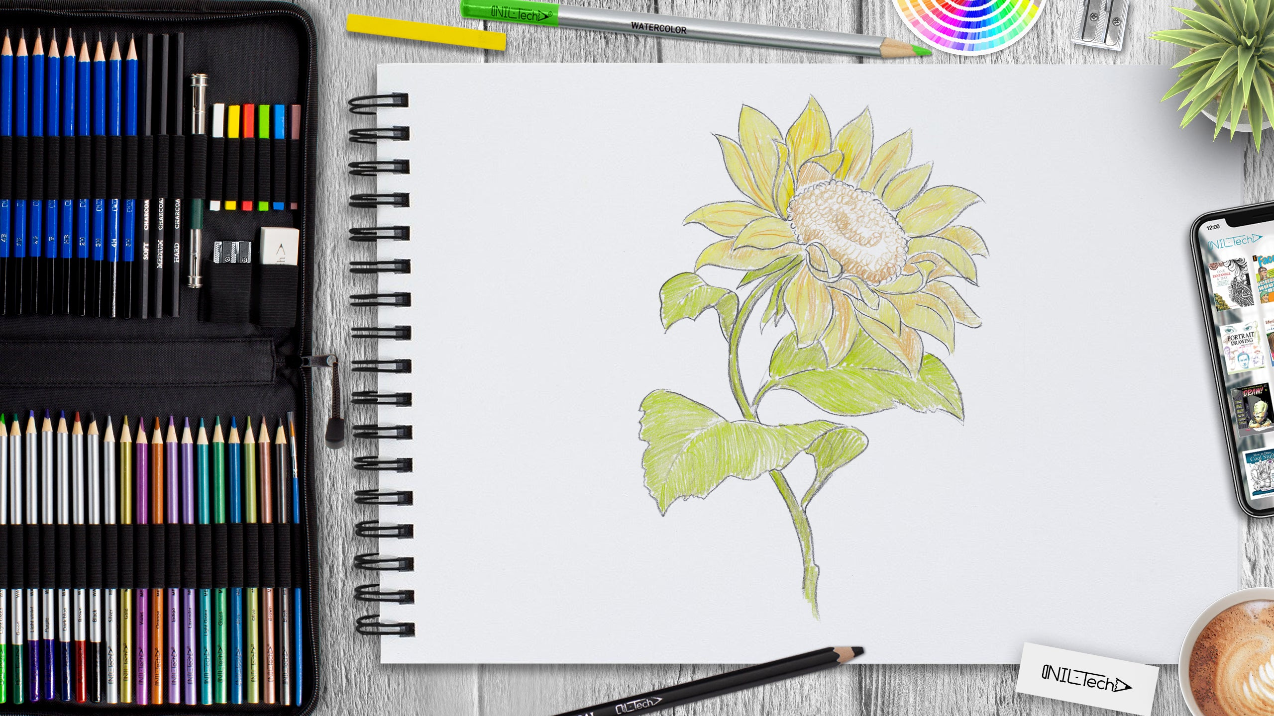 simple sunflower drawing tutorial for beginner