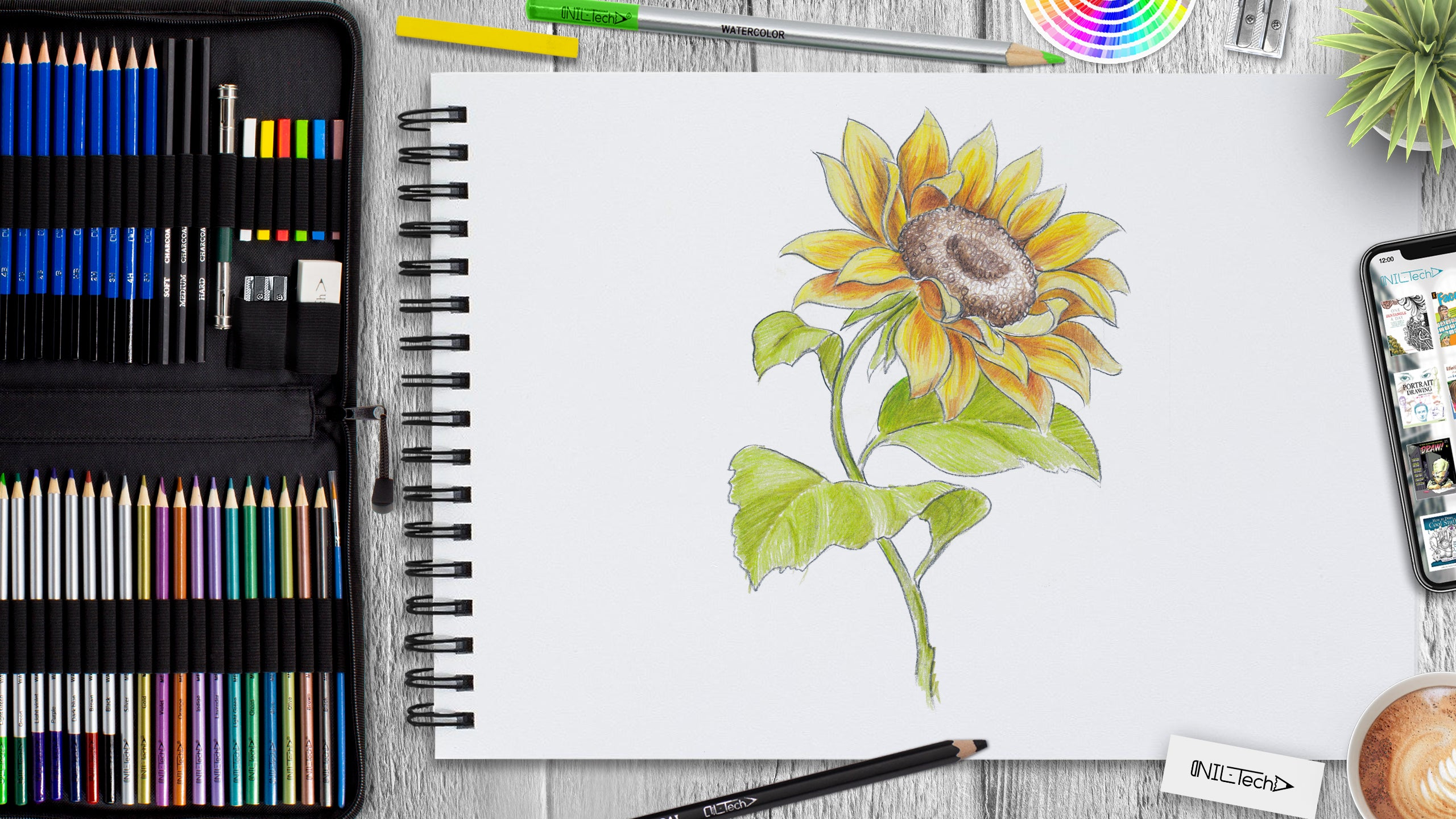how to draw sunflower tutorial