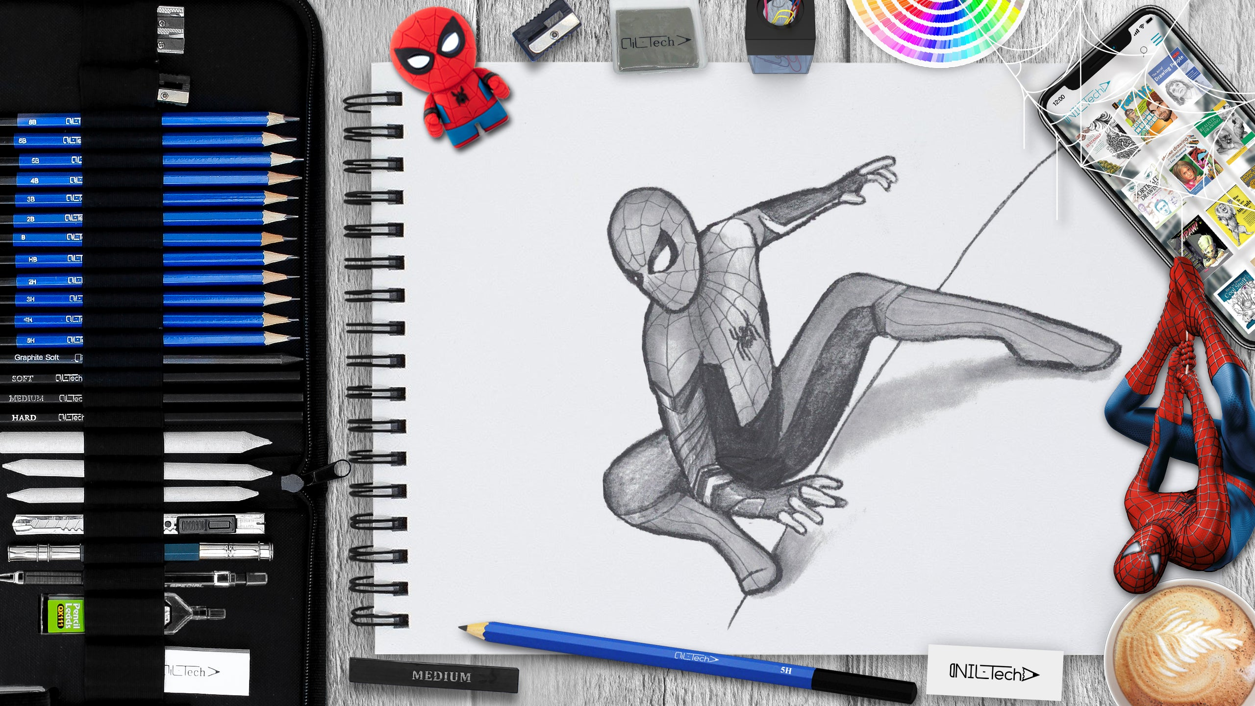 easy spider-man step by step drawing tutorial