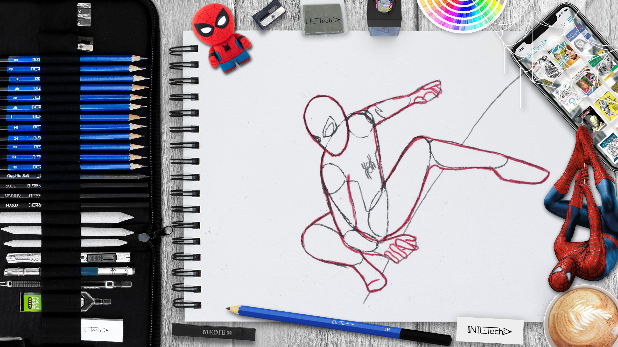 drawing spider-man step  by step tutorial