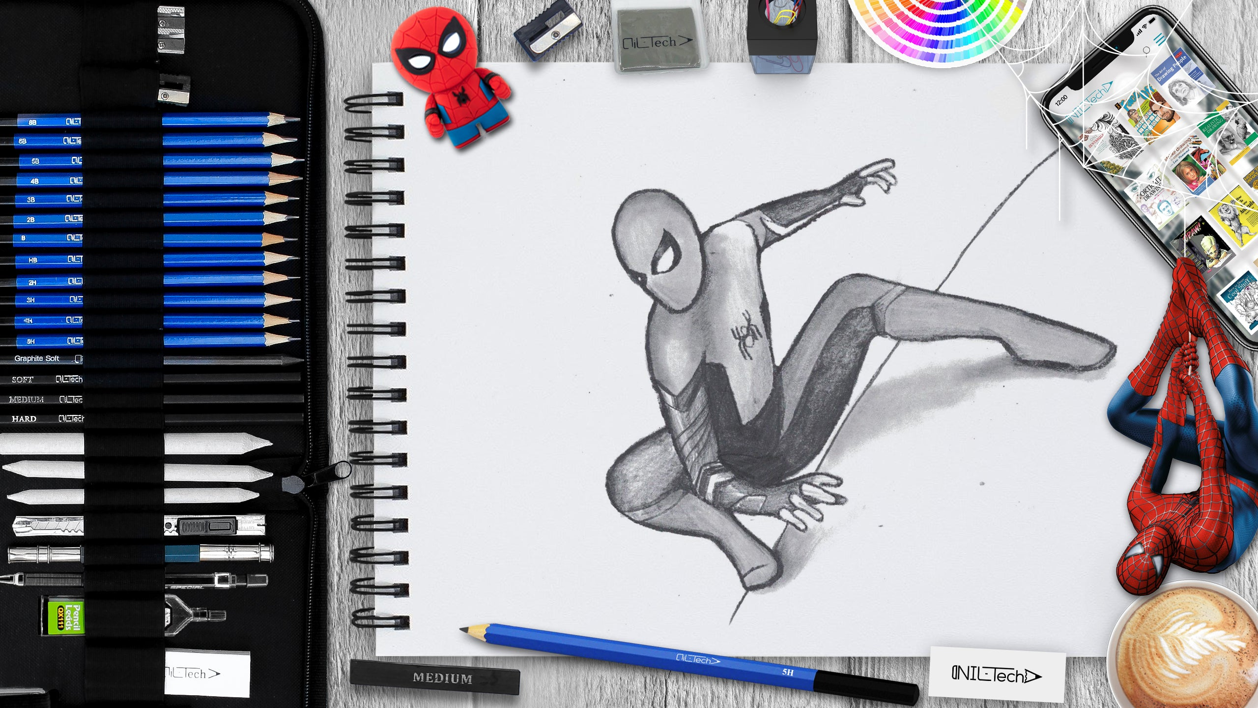 how to draw spider-man tutorial