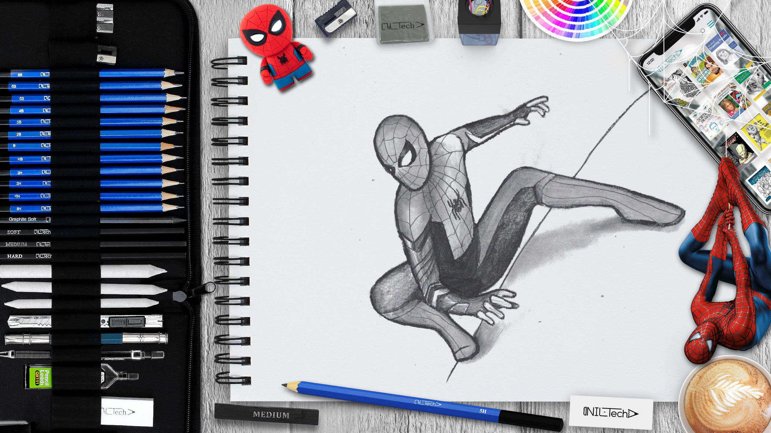 how to draw spider-man step by step tutorial