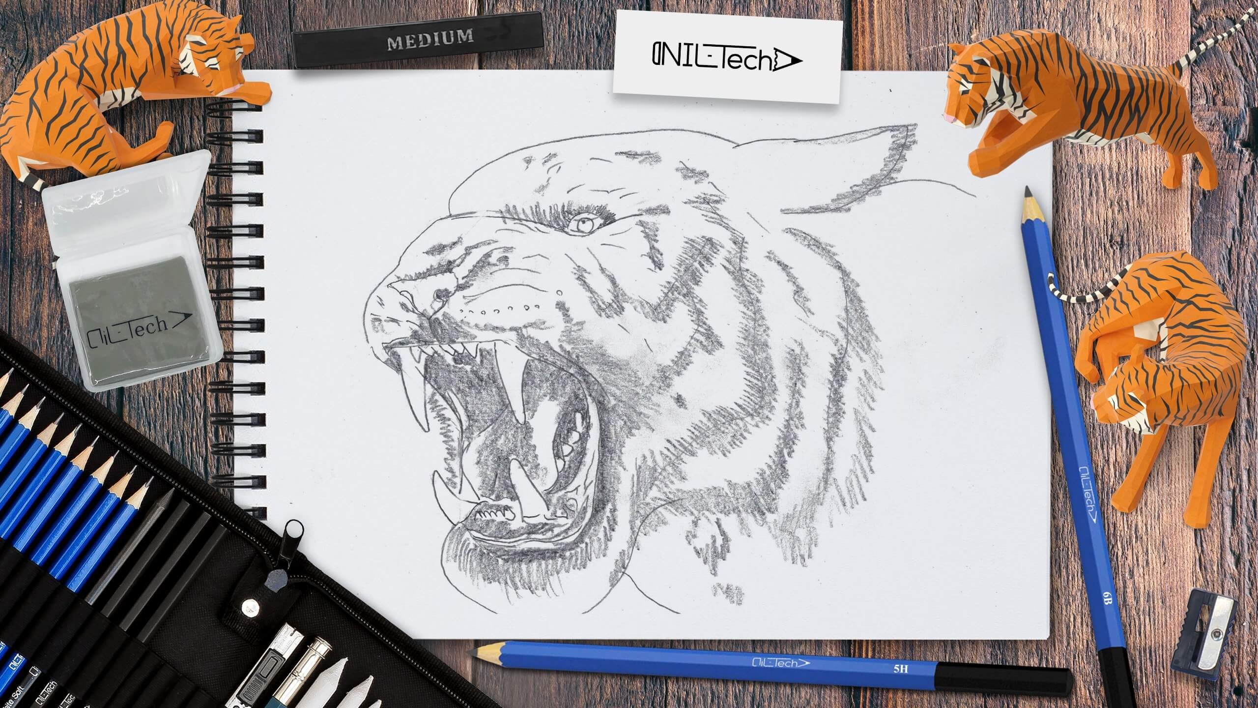 how to draw a tiger step by step easy