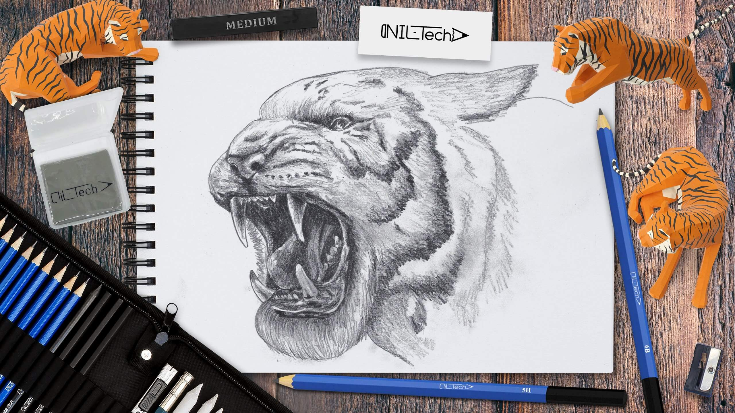 how to draw a realistic tiger