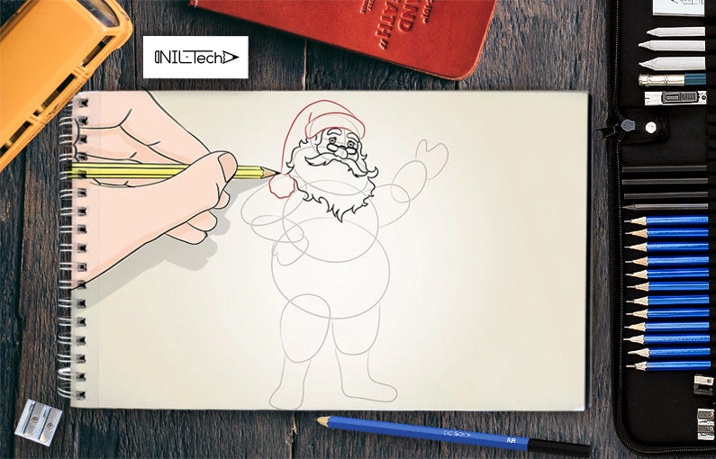how to draw a santa hat
