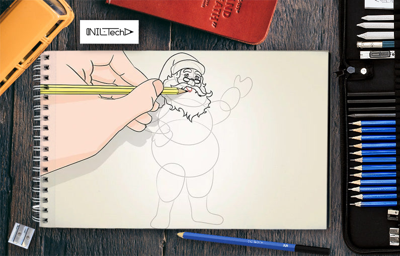 how to draw santa step by step