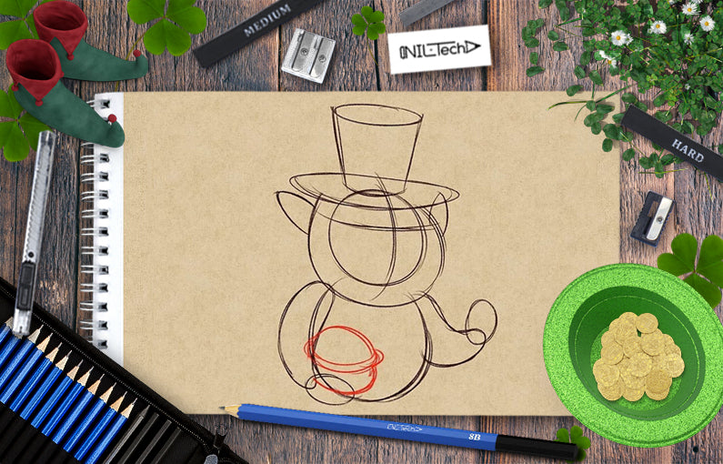 How to draw leprechaun step by step tutorial